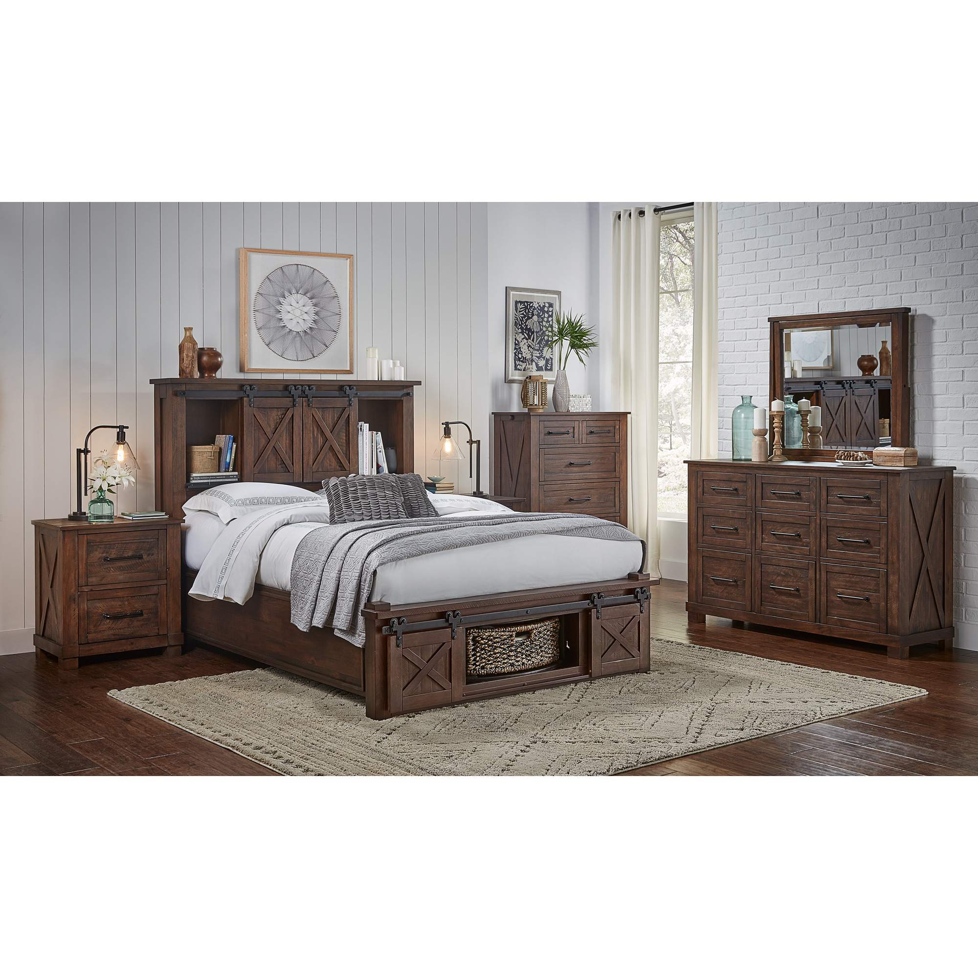 America | Sun Valley Rustic Timber Queen Rotating Storage 4 Piece Room Group Bedroom Set