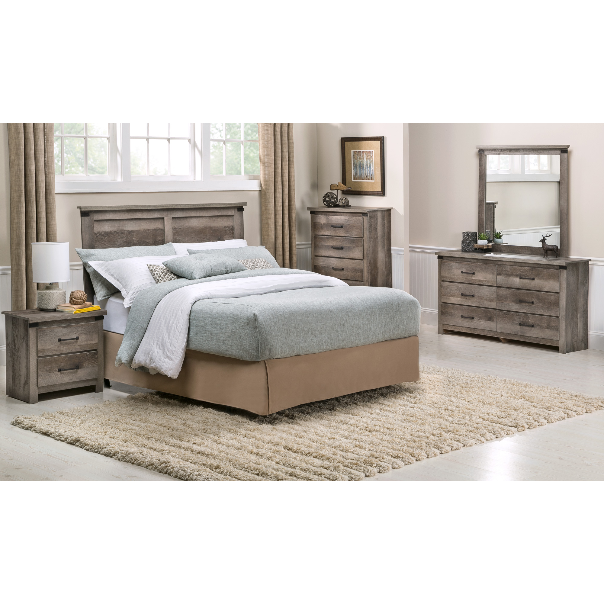 Kith Furniture | Gambrel Driftwood 4 Piece King Panel Room Package Bedroom Set