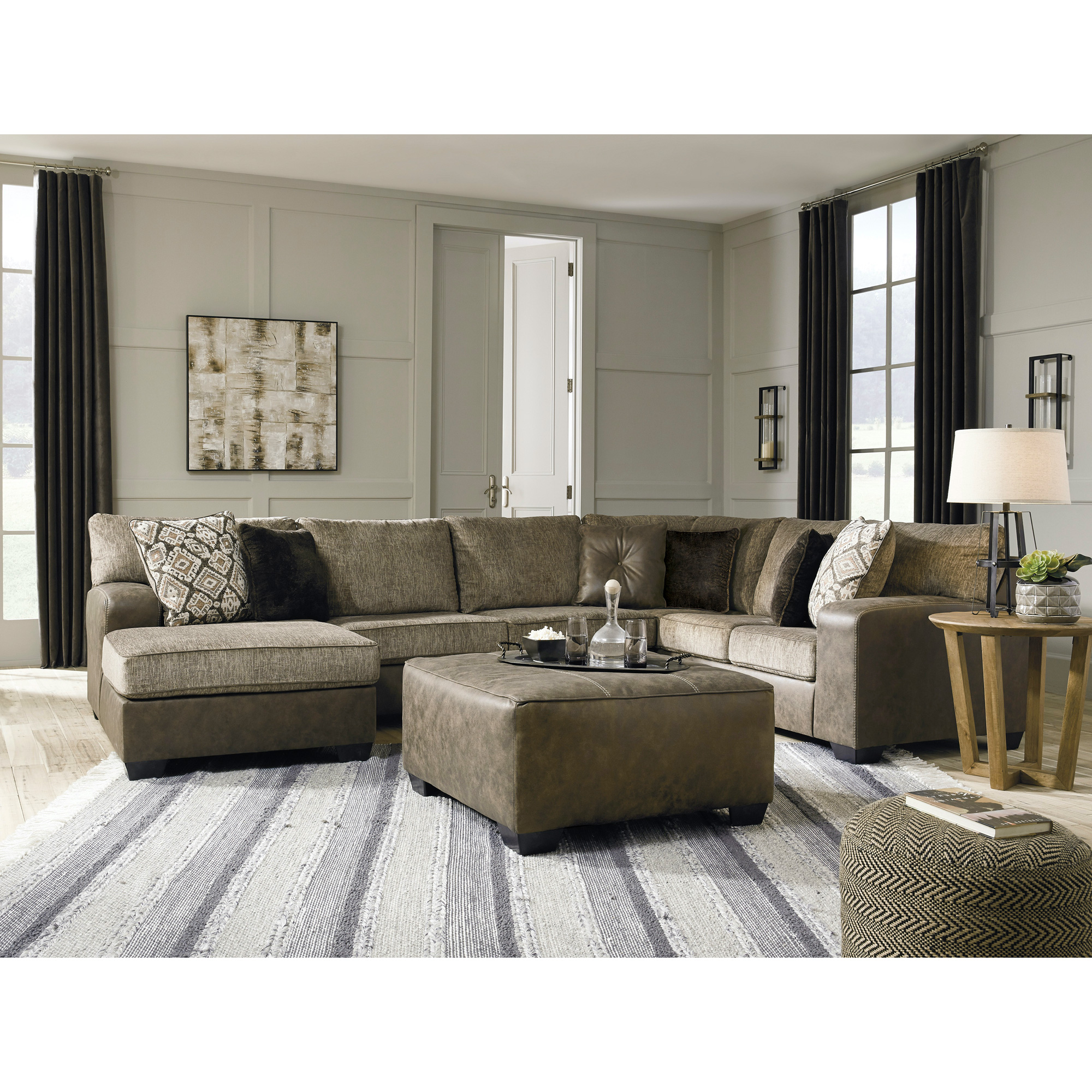 Ashley Furniture | Abalone Chocolate Left Chaise Sectional Sofa