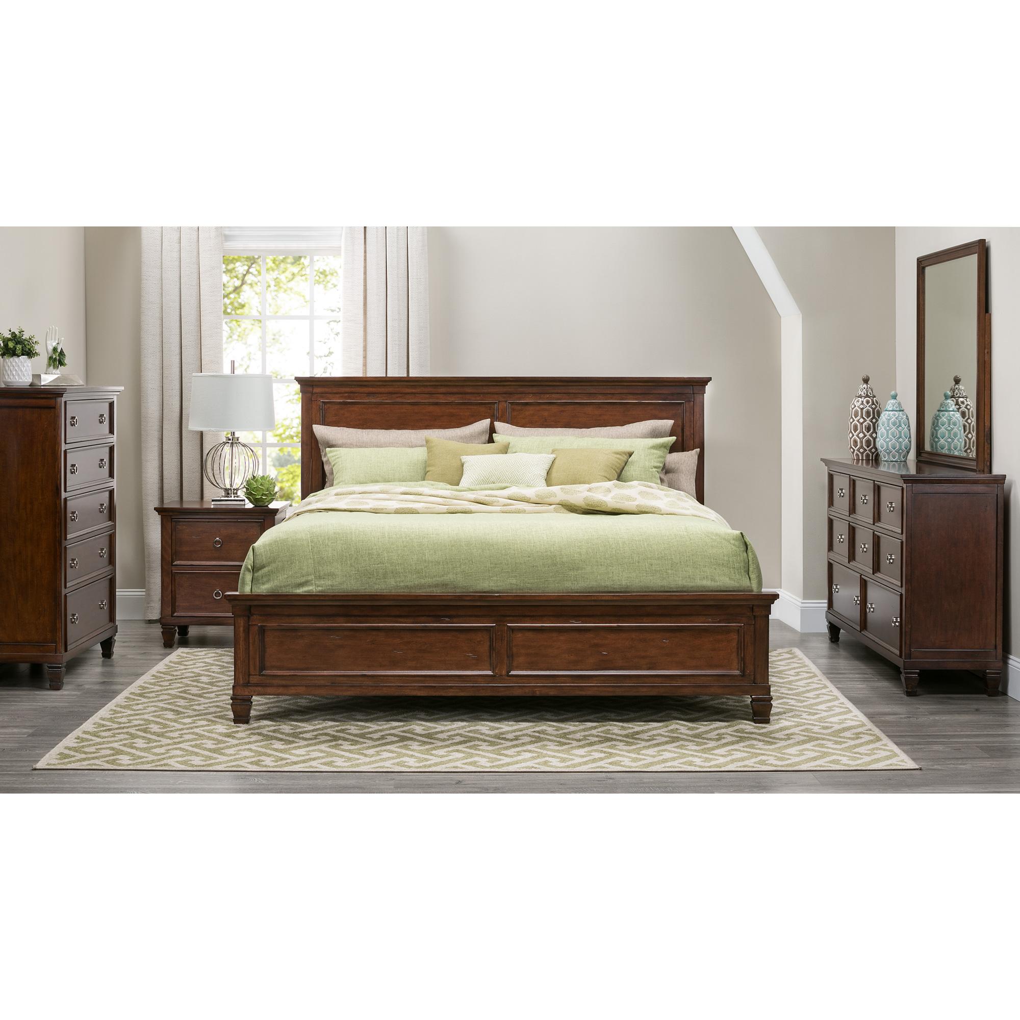New Classic | Persia II Brown Cherry California King 4 Piece Room Group Bedroom Set