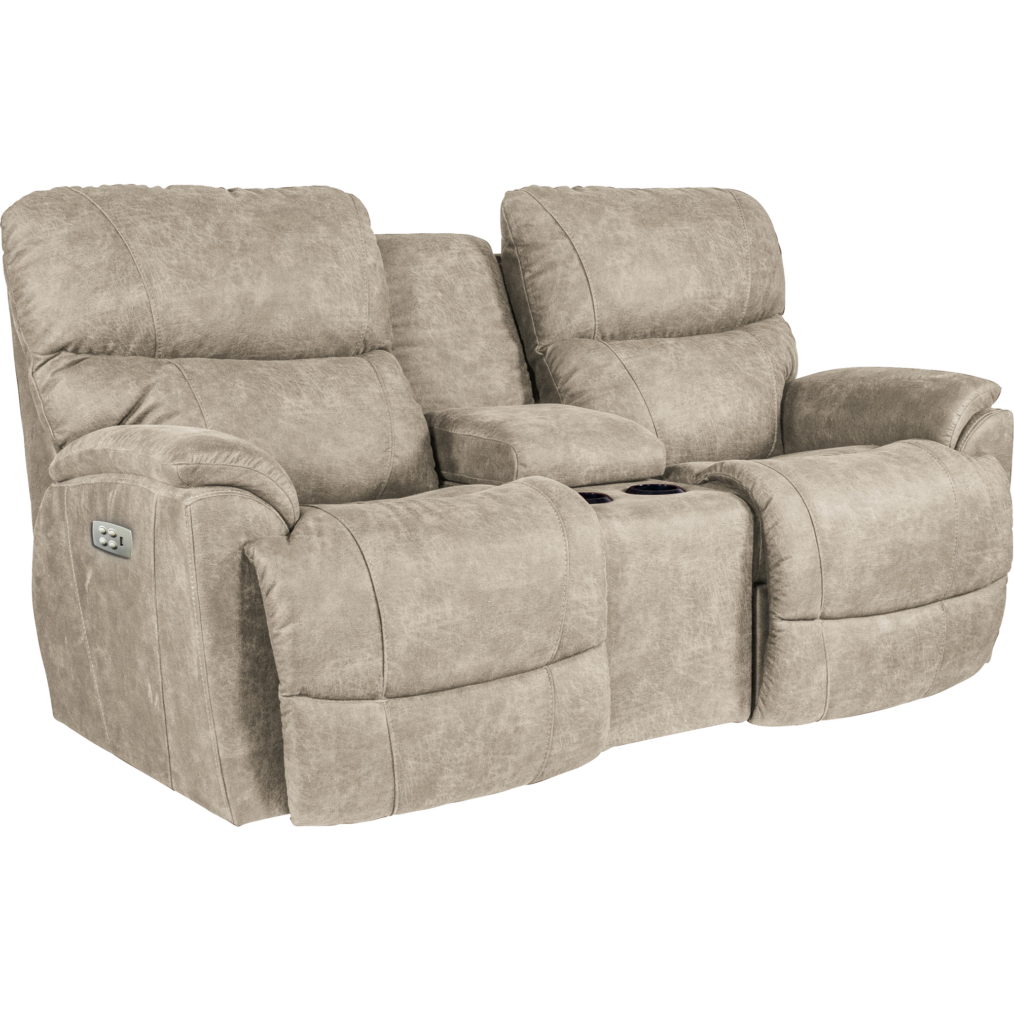 La-Z-Boy | Trouper Stucco Power Plus Reclining Console Loveseat Sofa