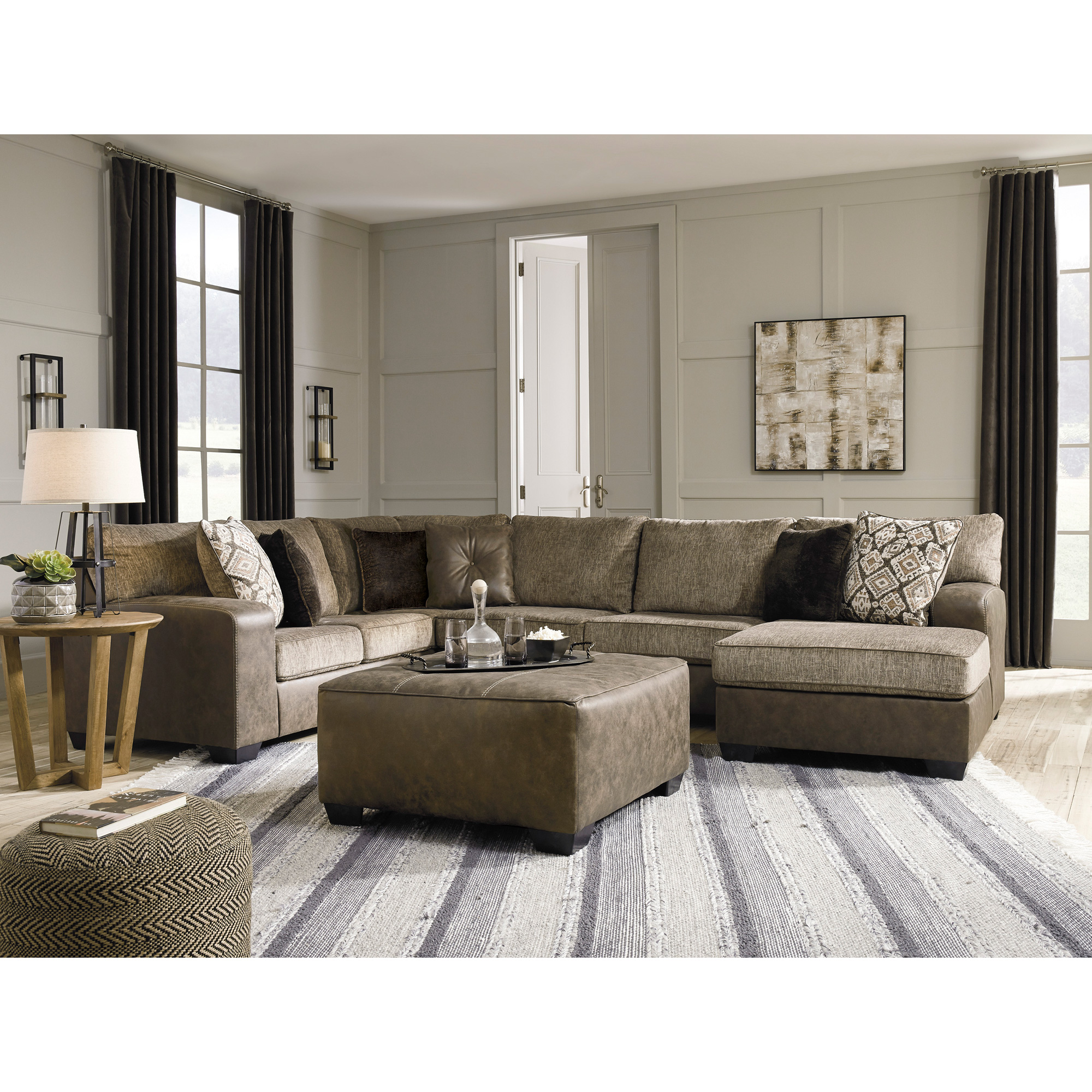 Ashley Furniture | Abalone Chocolate Right Chaise Sectional Sofa