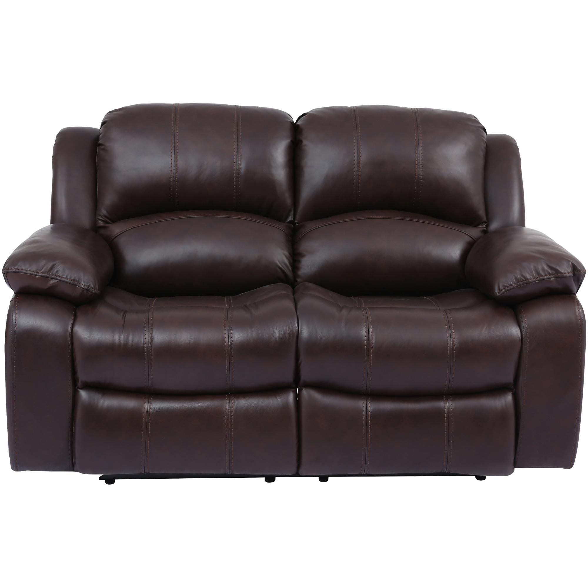 Wah Cheers | Ender Brown Leather Reclining Loveseat Sofa