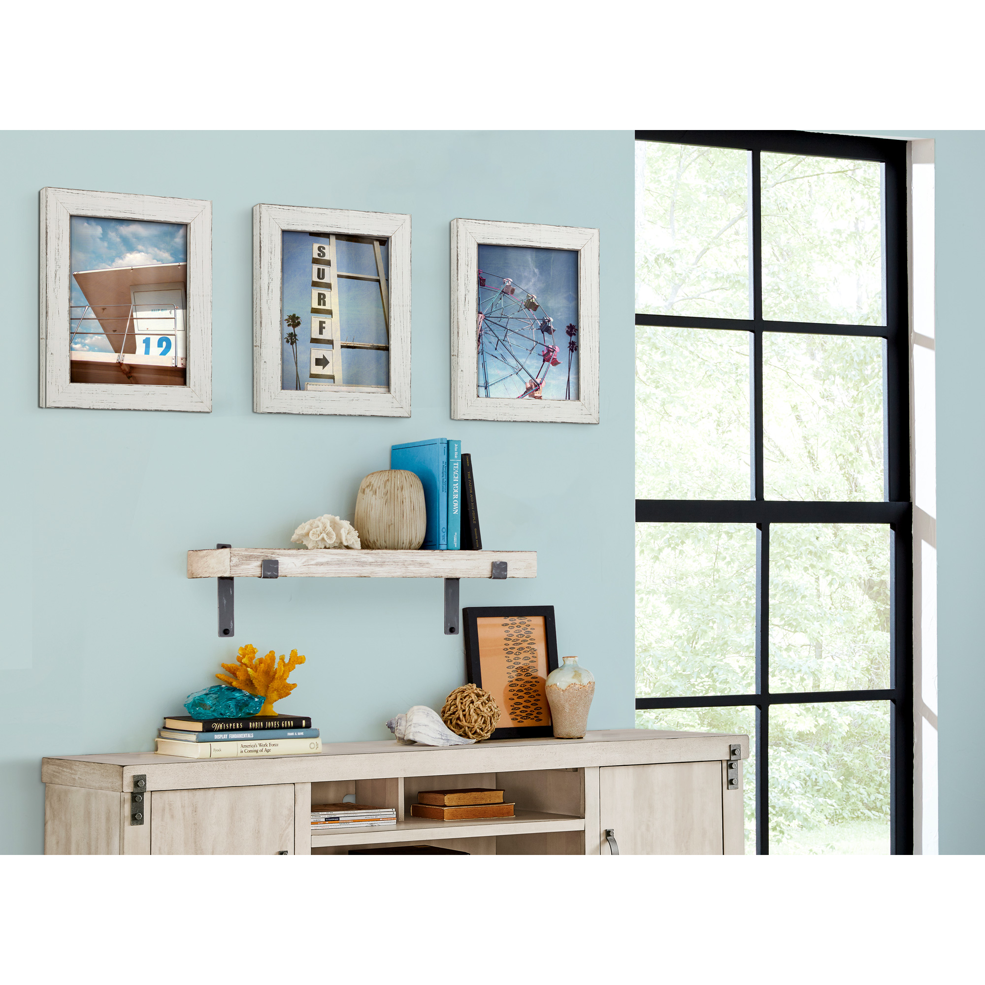 """Martin Furniture | Vintage White 30"""" Wall Shelf"""