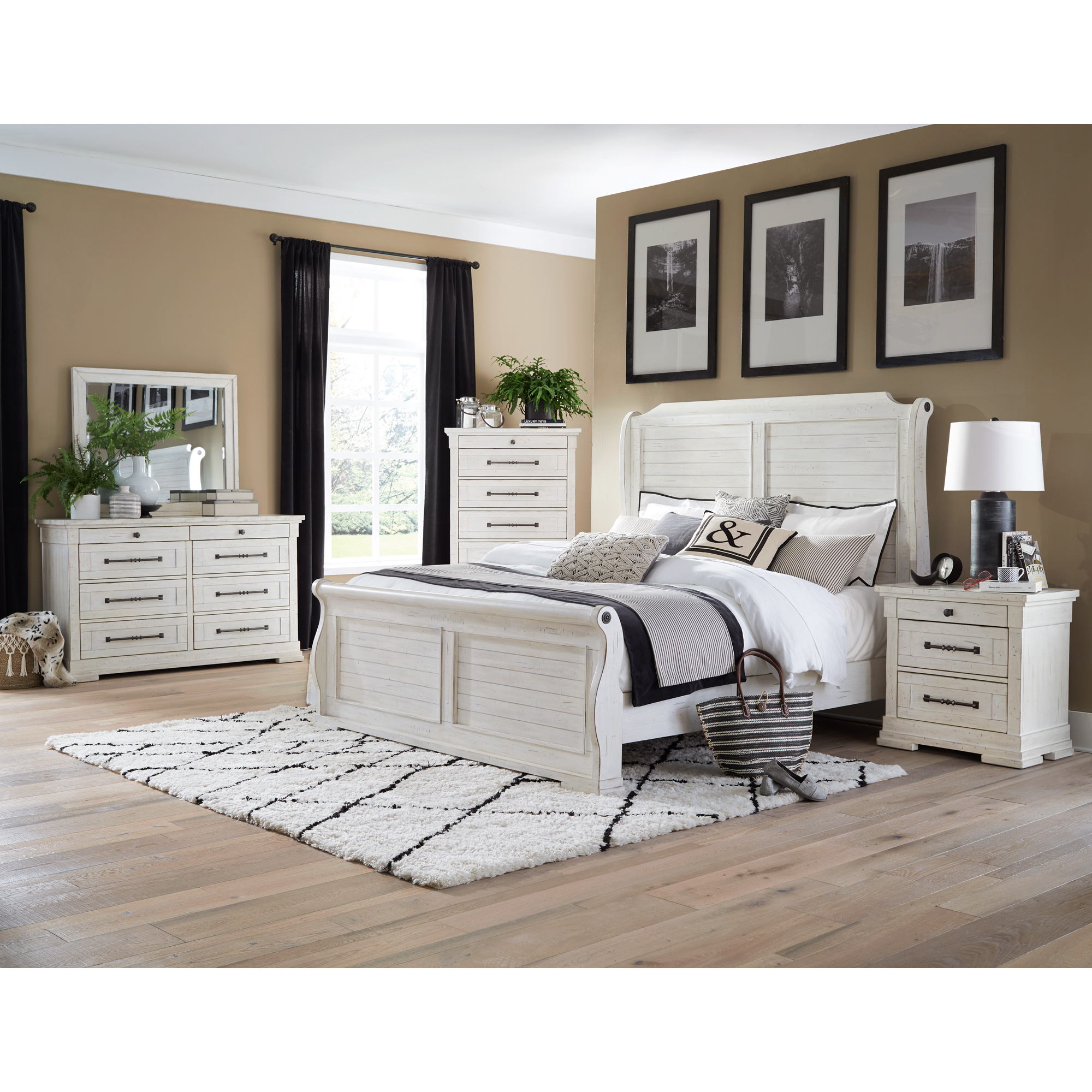 Lifestyle Enterprise | Bay Ridge White Queen 4 Piece Room Group Bedroom Set