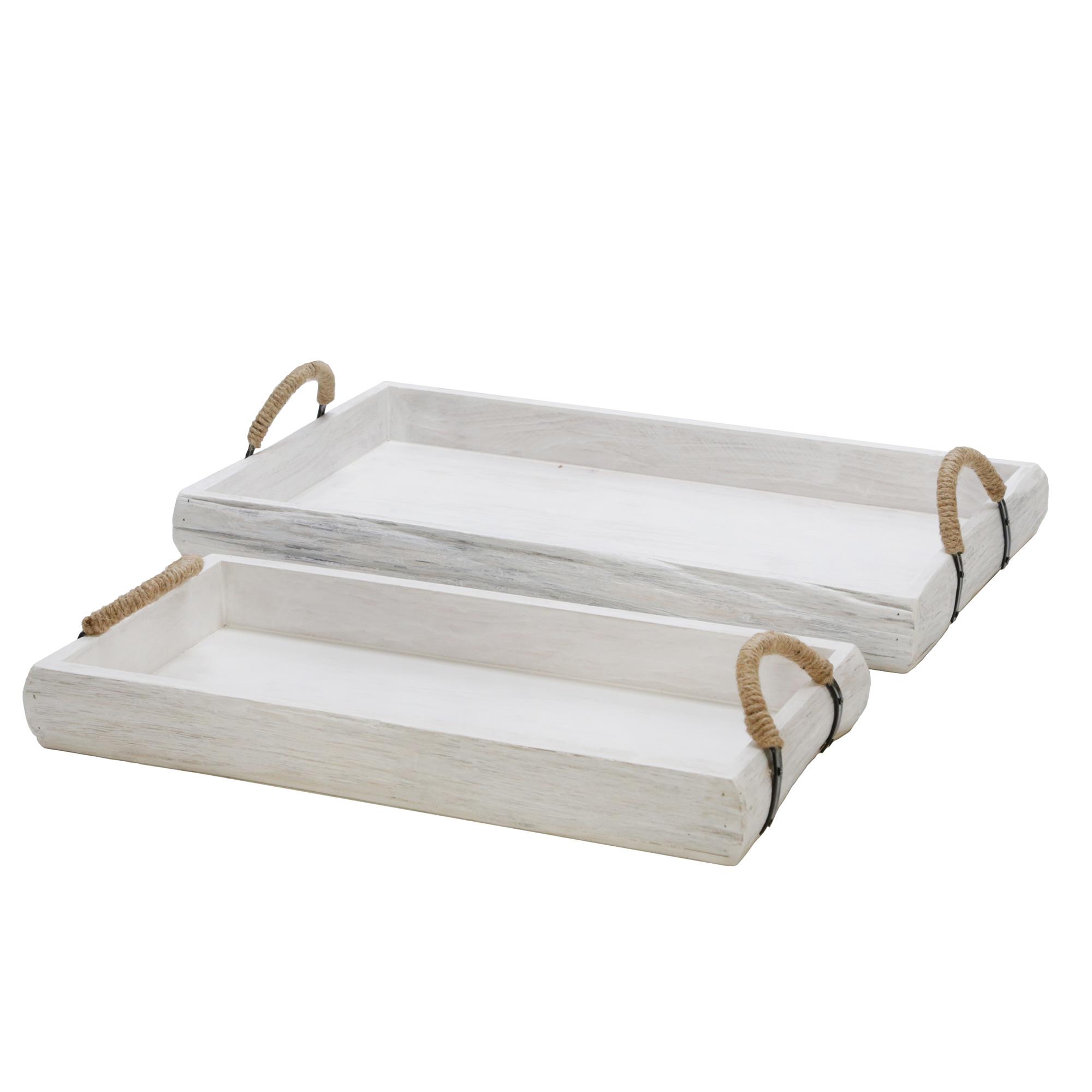Sagebrook | Heartland Home White Wash Wood Trays