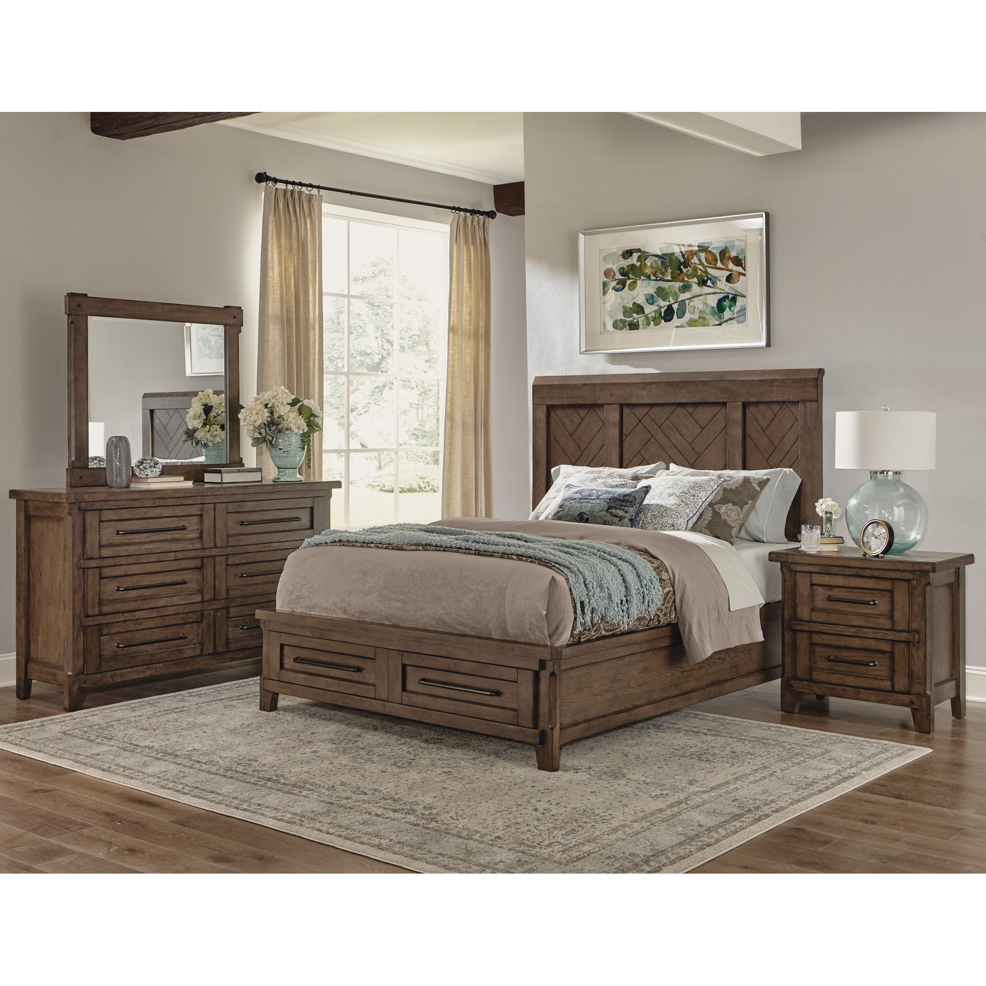 Davis Direct | Patches Gray Brown Queen Panel Storage 4 Piece Room Group Bedroom Set
