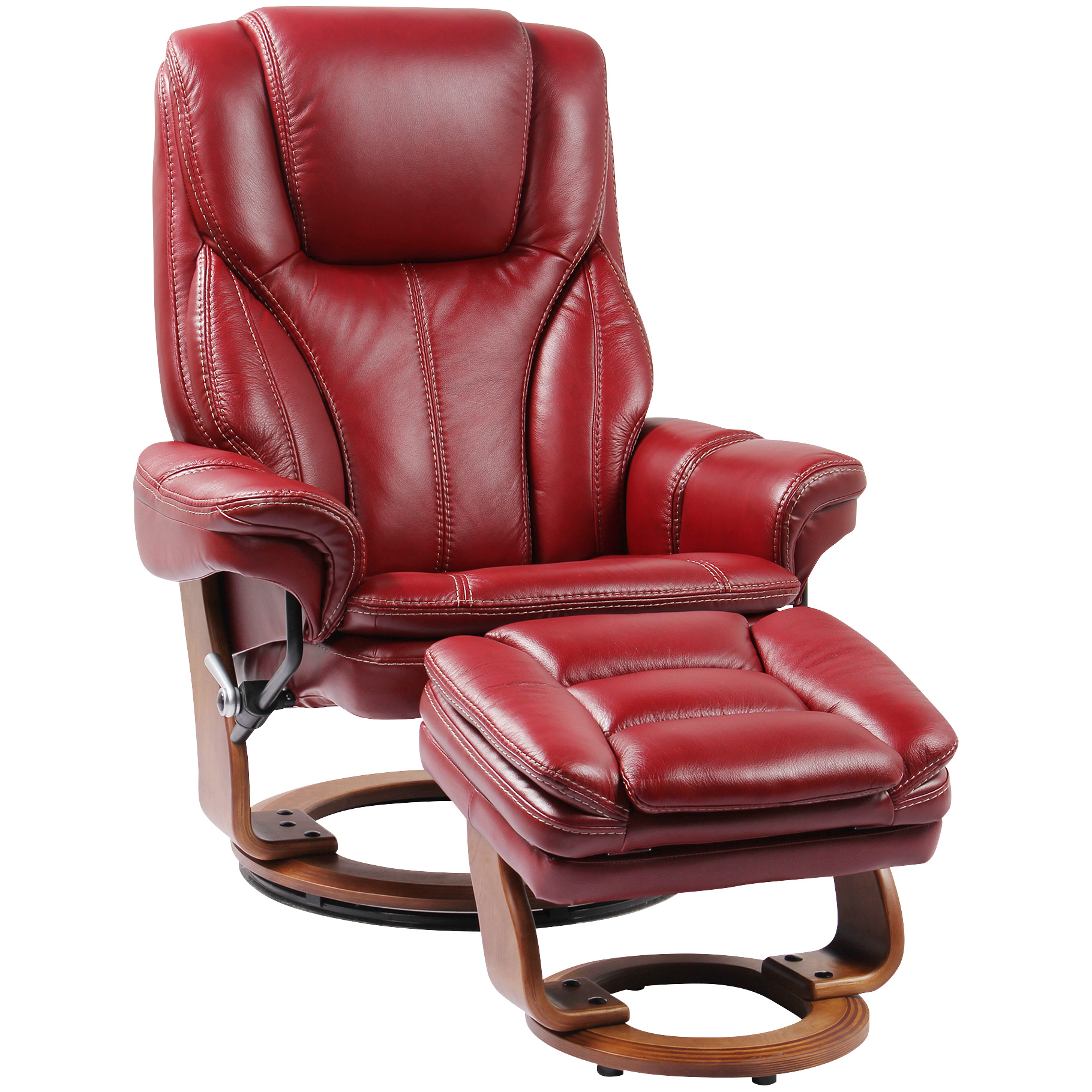 Benchmaster | Hana Red Ruby Recliner Chair with Ottoman