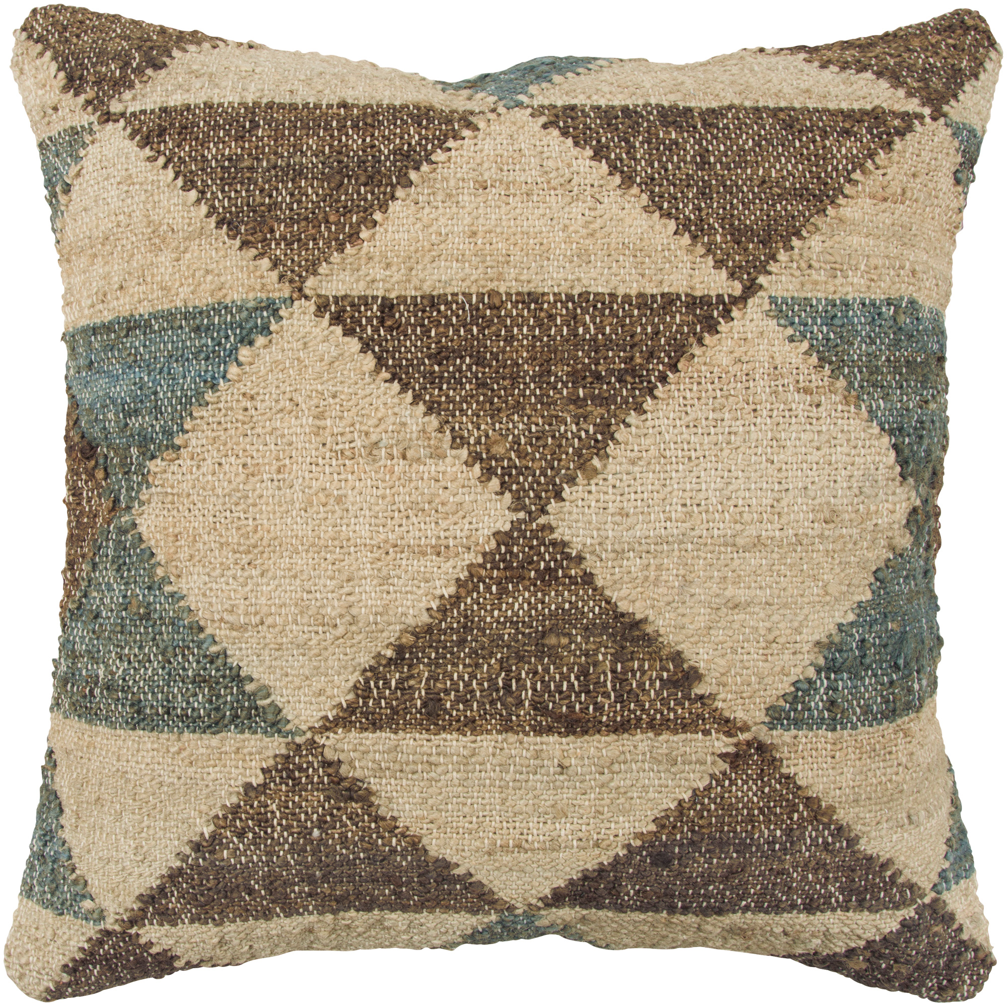 Rizzy Home | Aztec Vintage Mission Brown and Blue Down Pillow