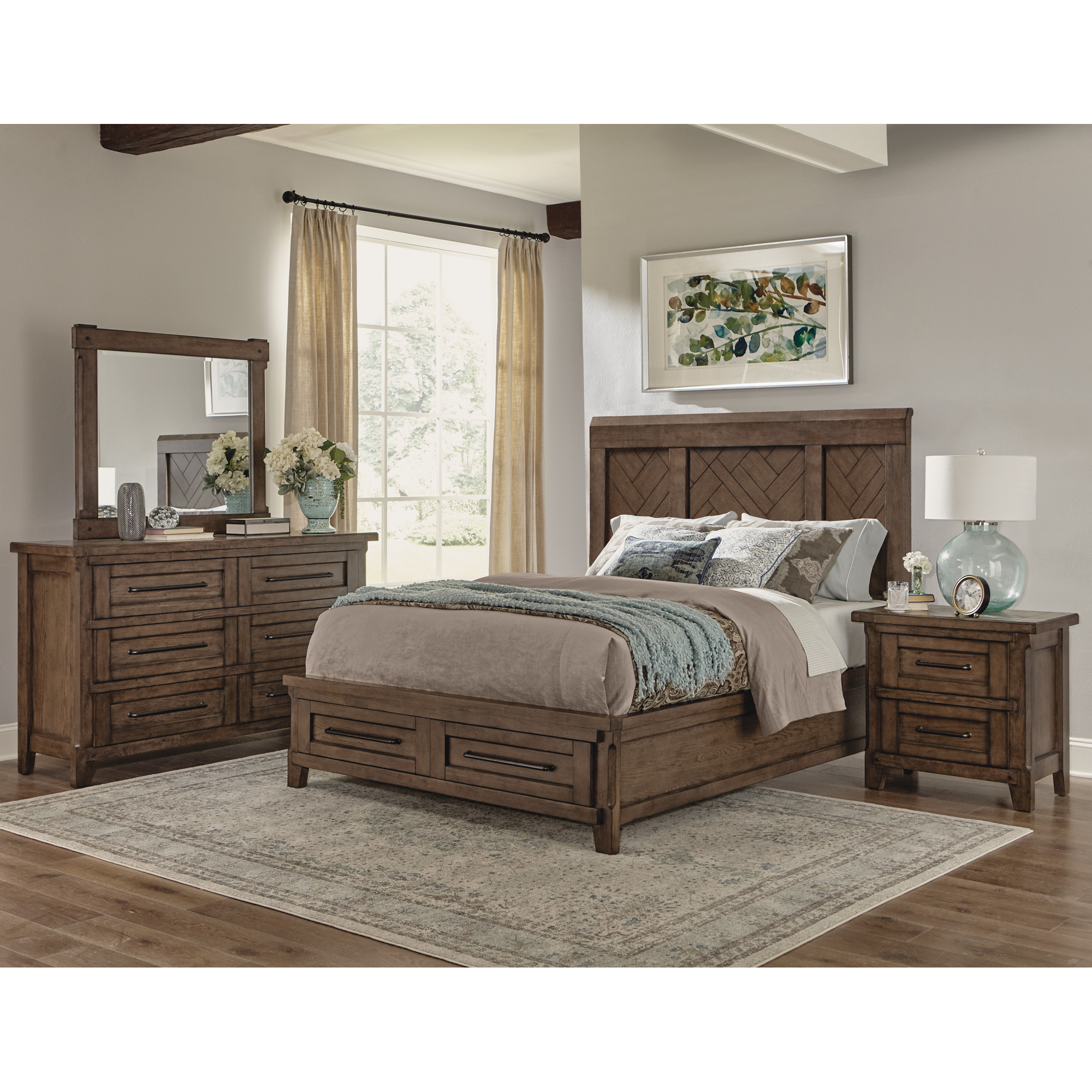 Davis Direct | Patches Gray Brown King Panel Storage 4 Piece Room Group Bedroom Set