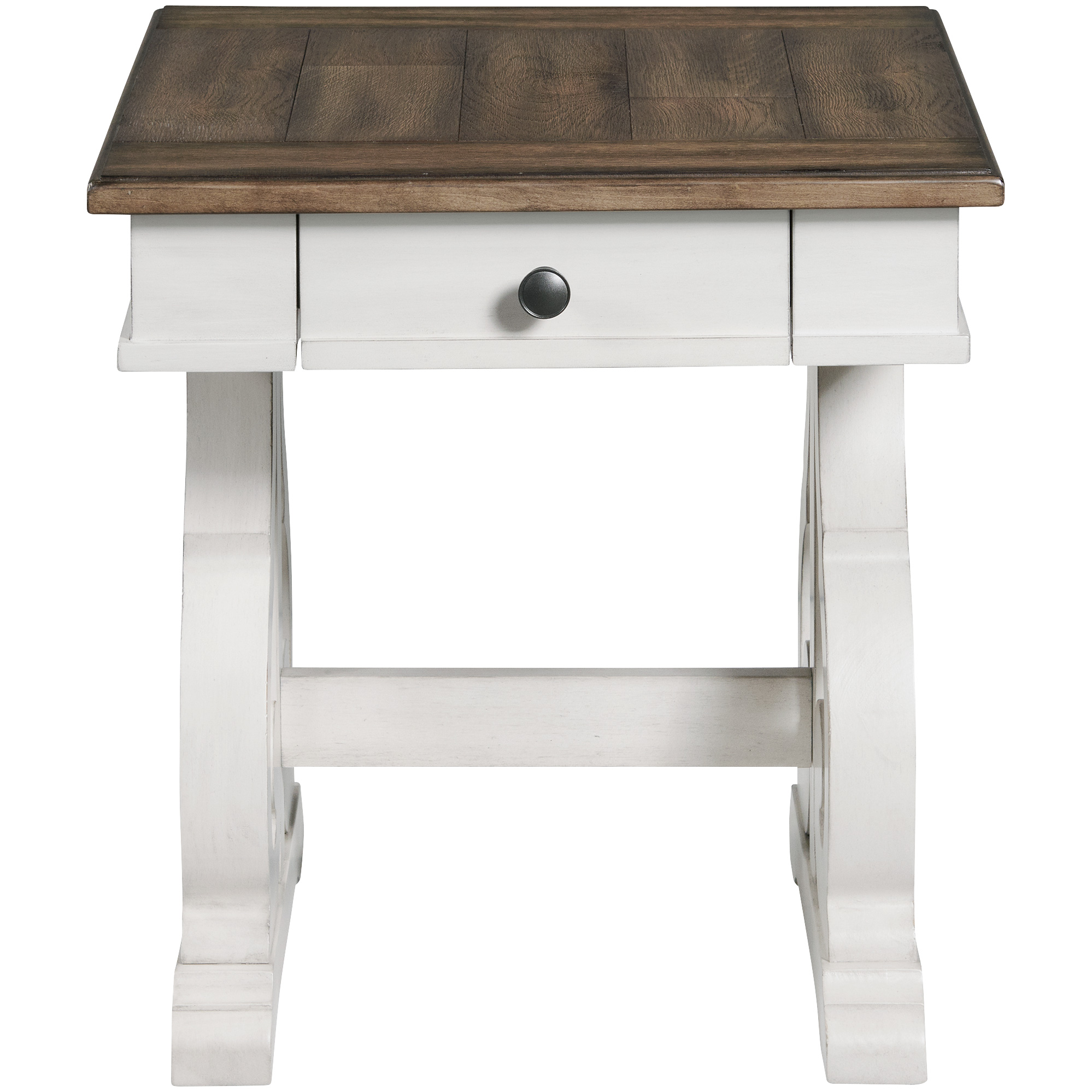 Intercon | Drake Rustic White and Stone End Table