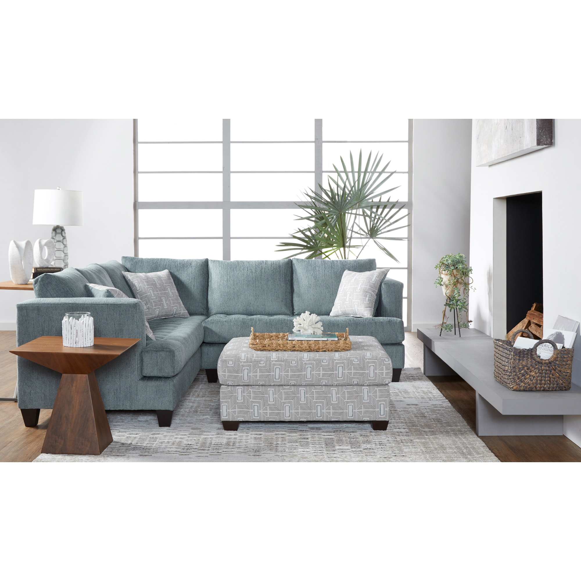 Serta Upholstery By Hughes Furniture | Asta Cerulean Sectional Sofa