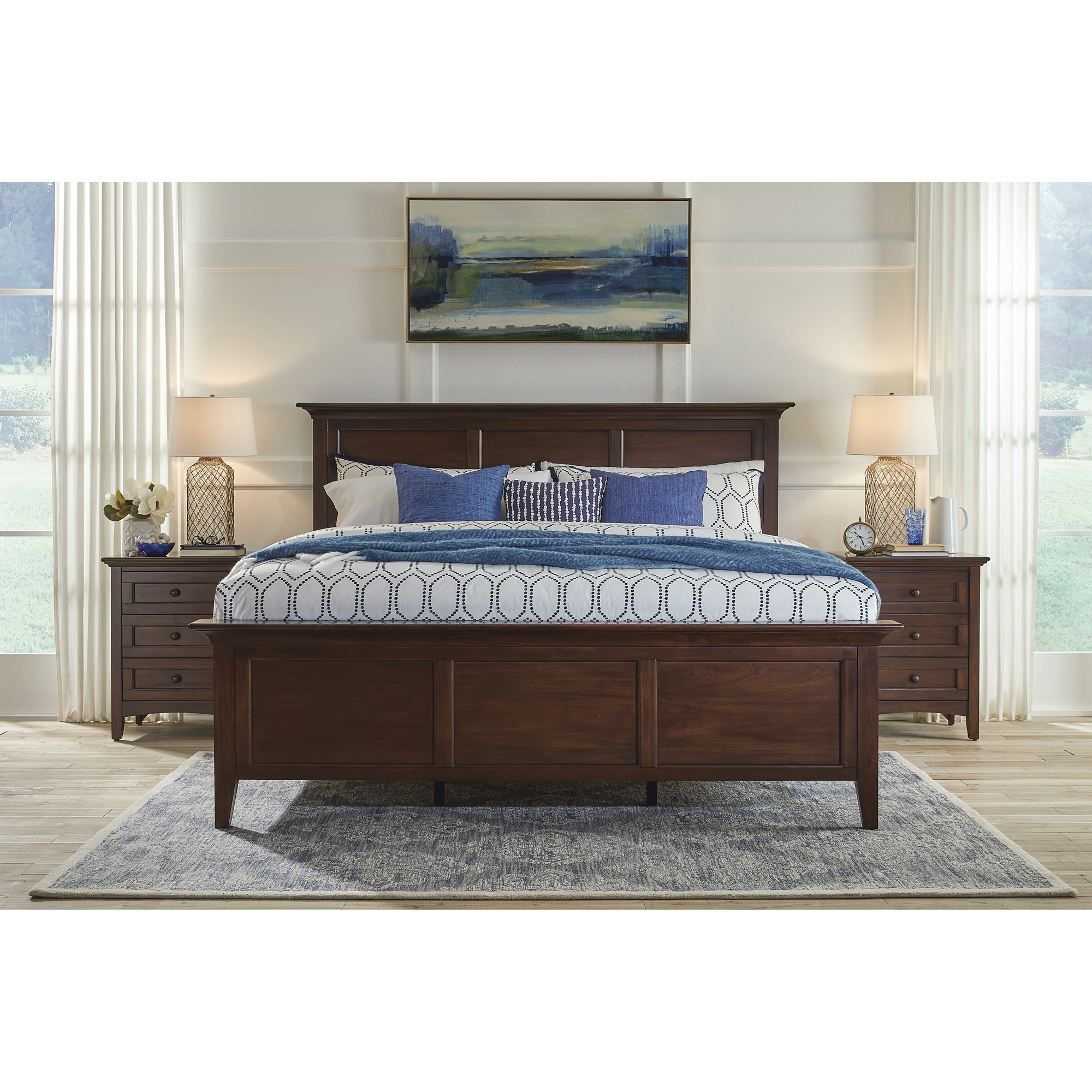 A America | Westlake Cherry Brown Queen Panel Bed