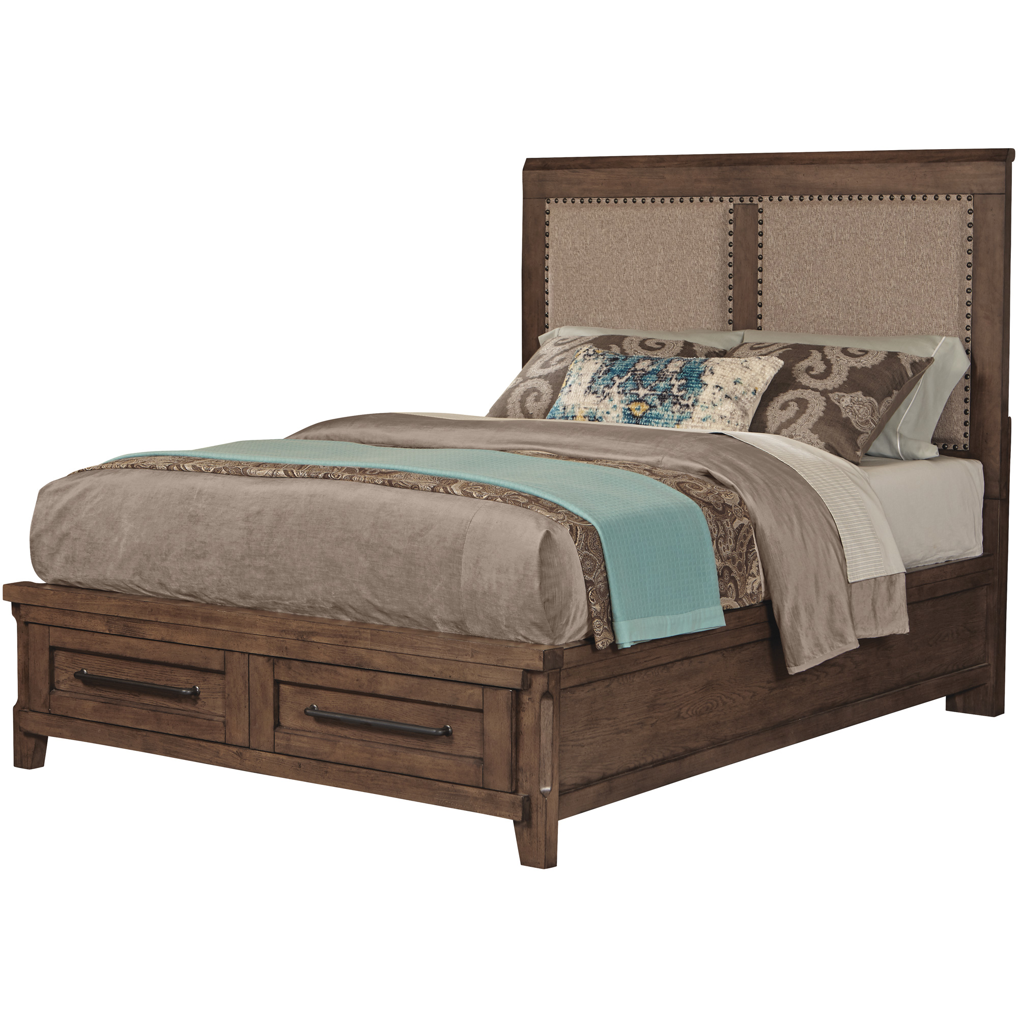 Davis Direct | Patches Gray Brown Queen Upholstered Storage Bed