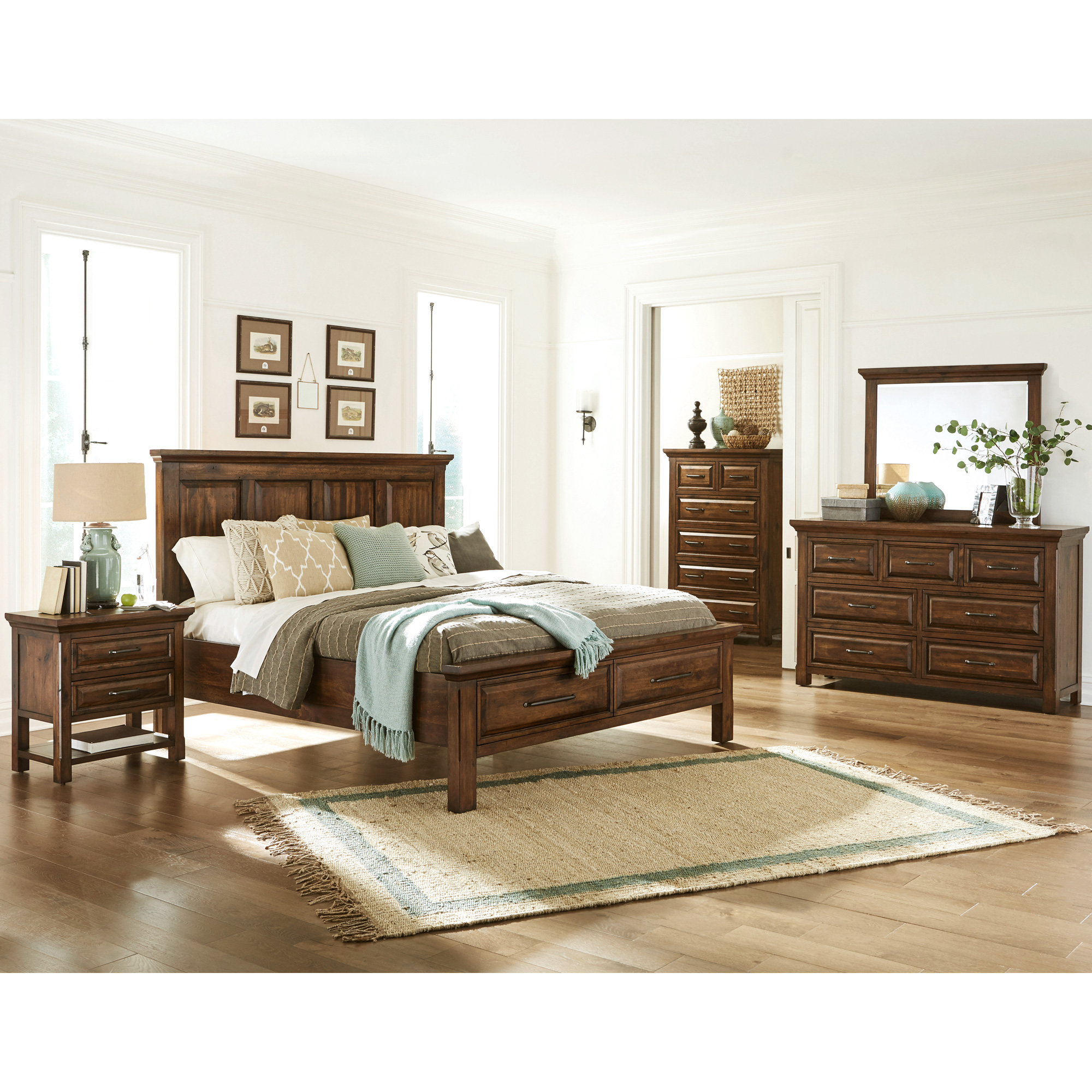 Napa Furniture   Hill Crest Dark Chestnut Queen 4 Piece Room Group Bedroom Set