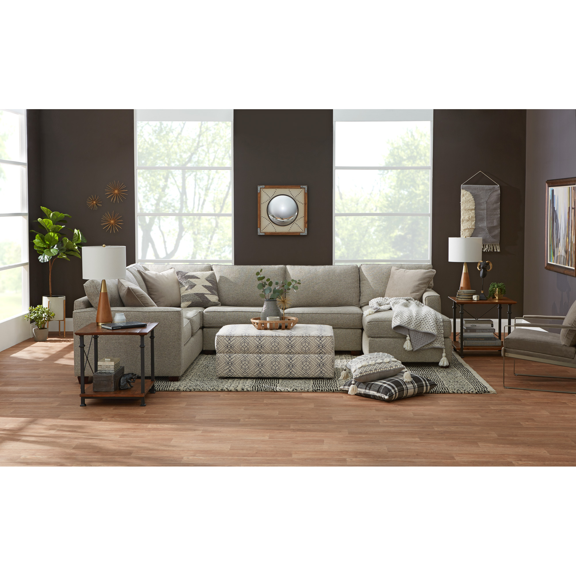 Bauhaus Furniture   Rise Gray 3 Piece Right Sectional Sofa