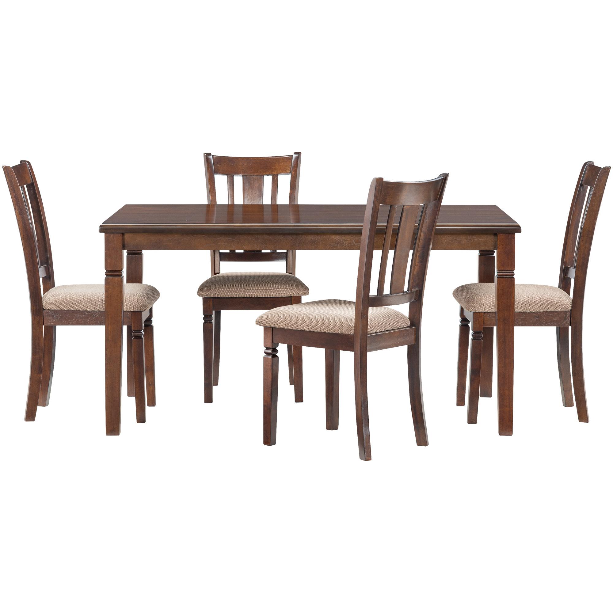 Home Elegance | Durham Espresso 5 Piece Dining Set | Dark Brown
