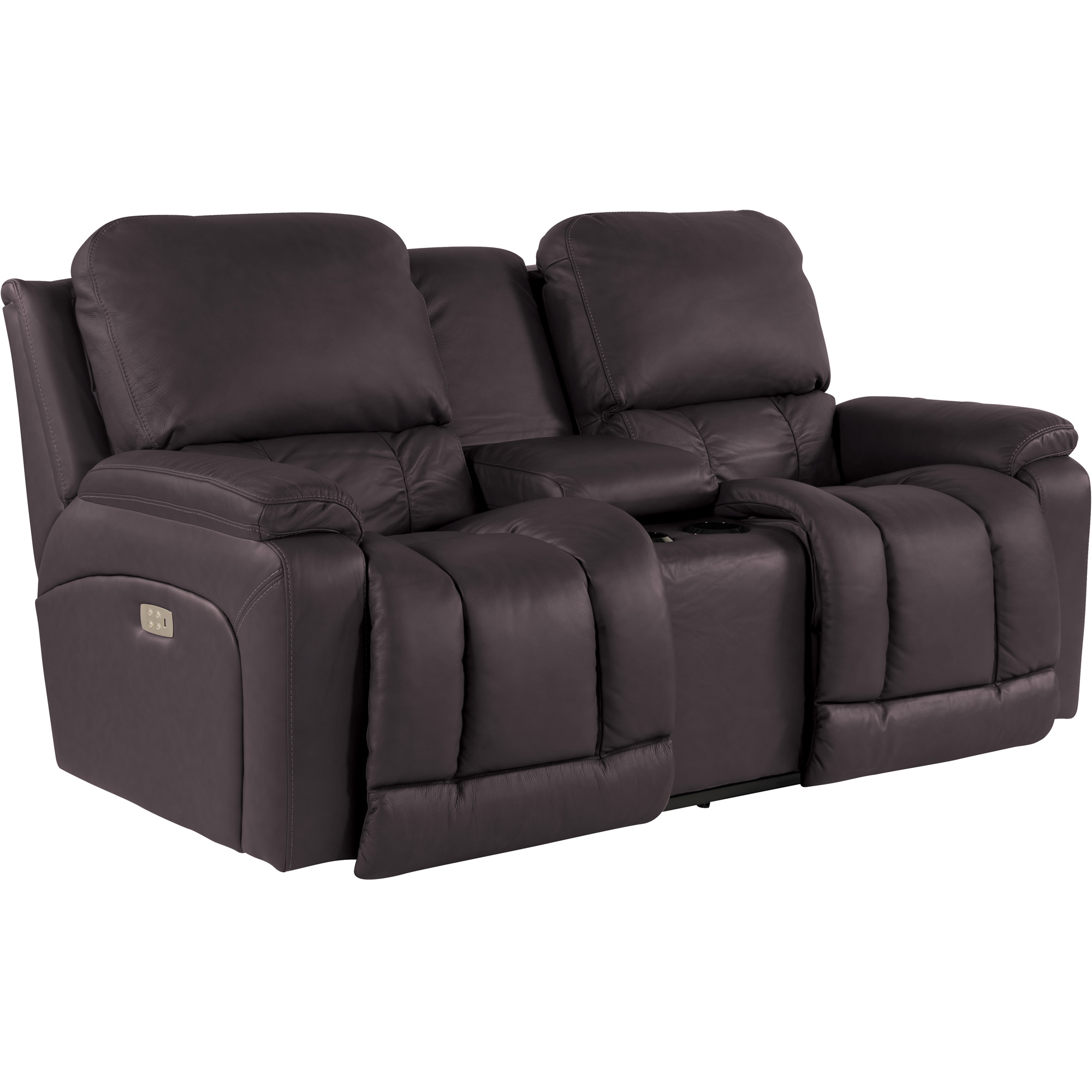 La-Z-Boy | Greyson Chocolate Power Plus Reclining Console Loveseat Sofa