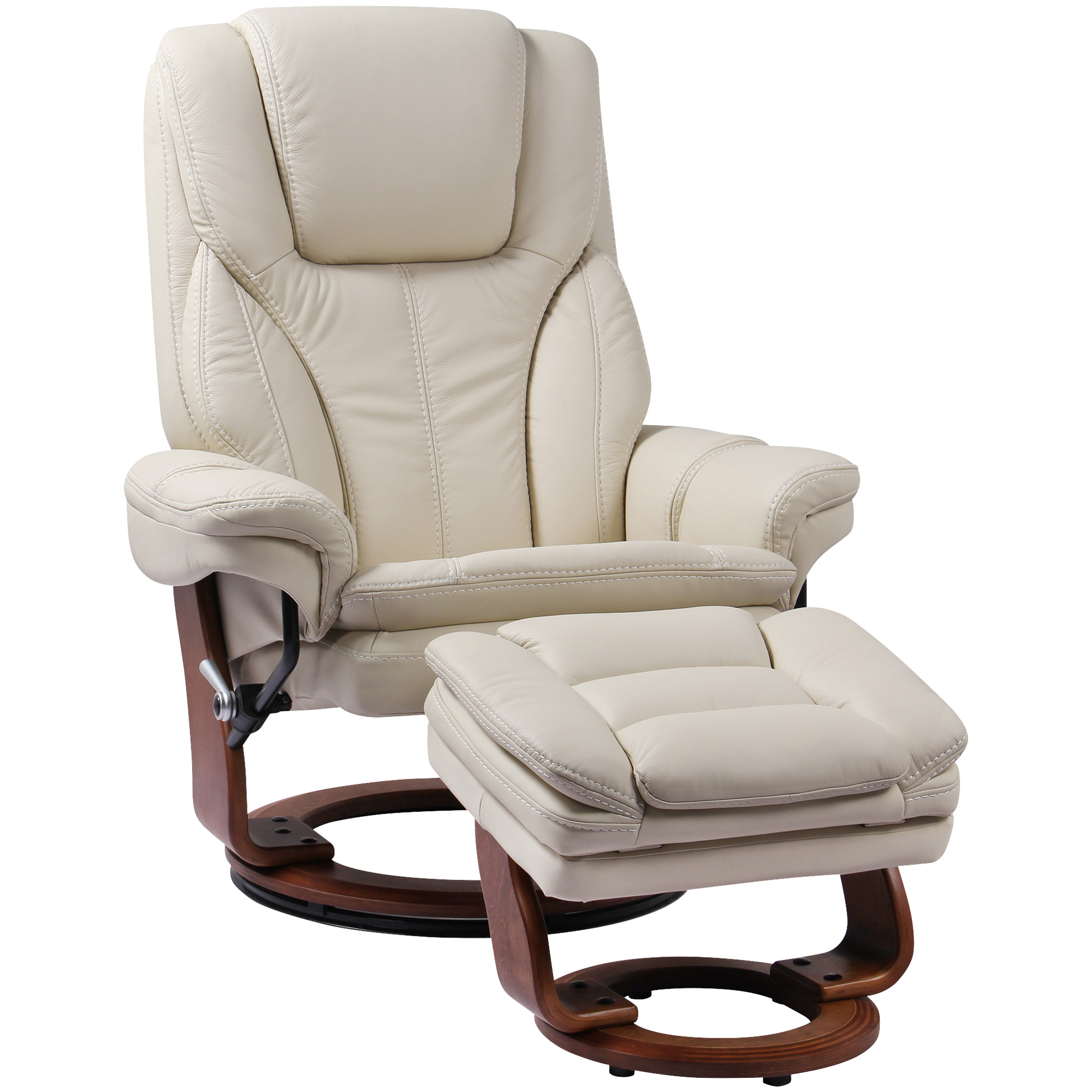 Benchmaster | Hana White Recliner Chair with Ottoman