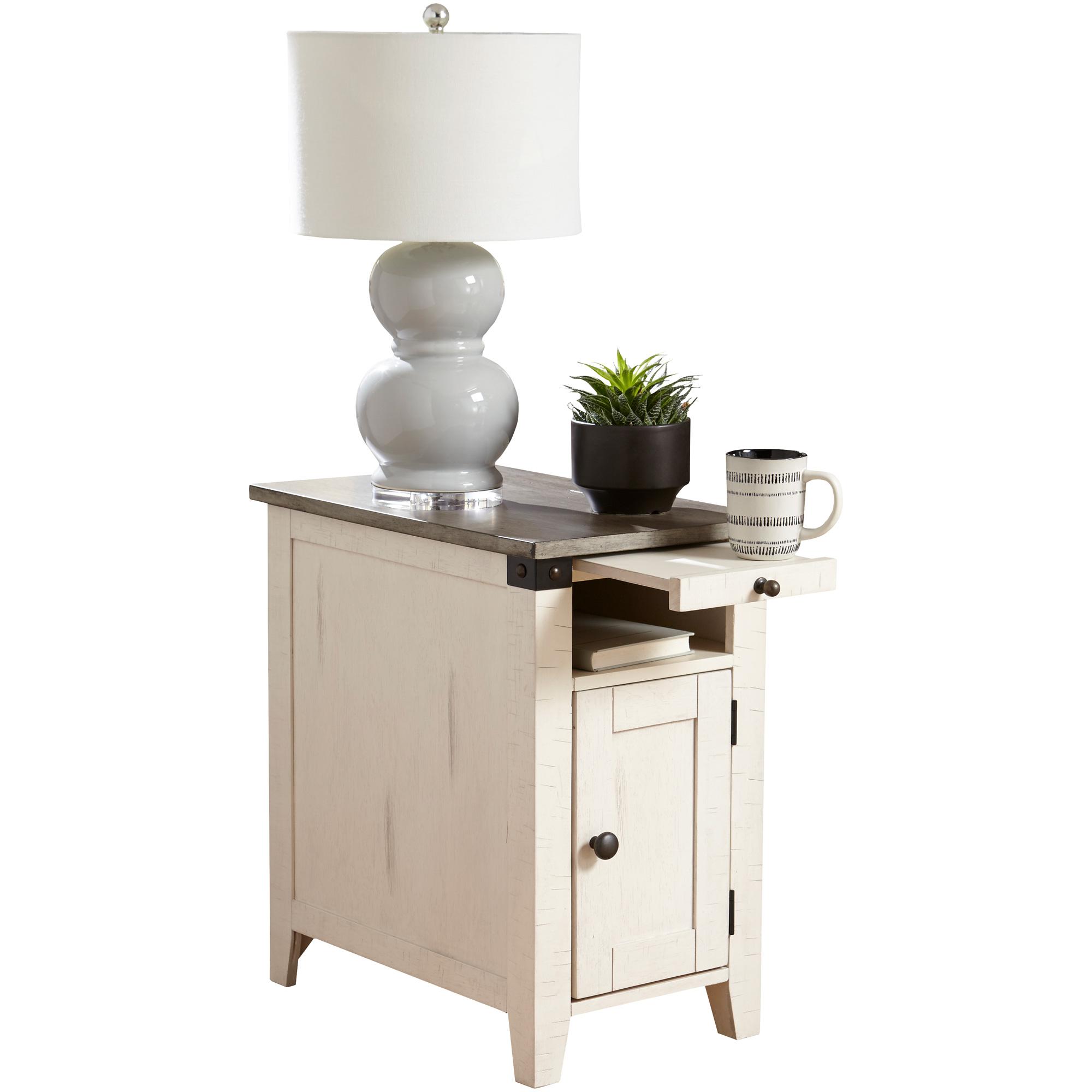 Martin Furniture | Dakota White and Gray Chairside Table
