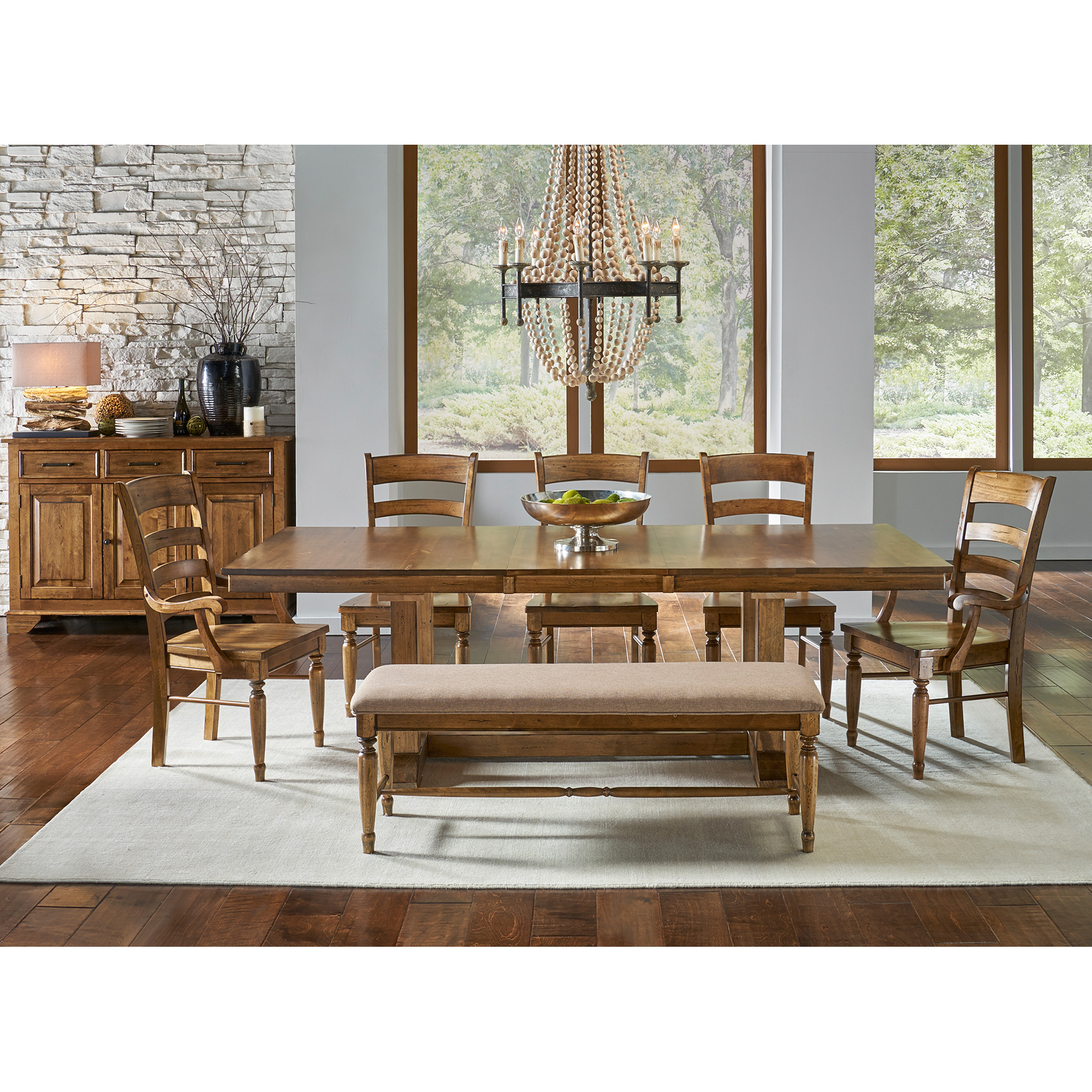 America | Bennett Smokey Quartz 5 Piece Trestle Dining Set