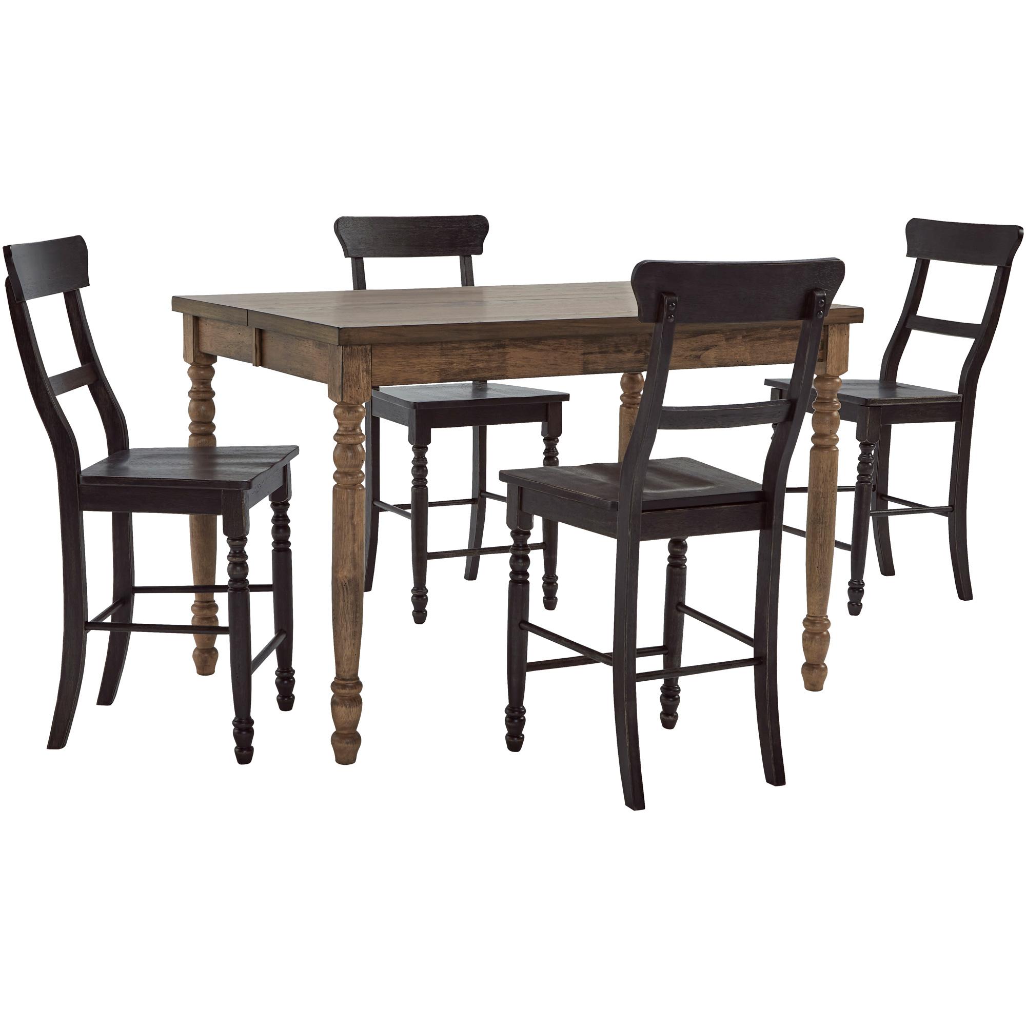 Progressive Furniture Inc. | Savannah Court Antique Oak and Black 5 Piece Counter Dining Set