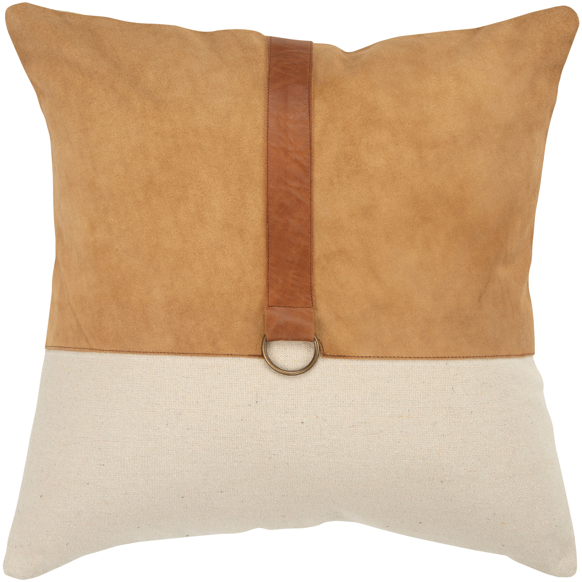 Rizzy Home | Aztec Brown Leather Strap Down Pillow