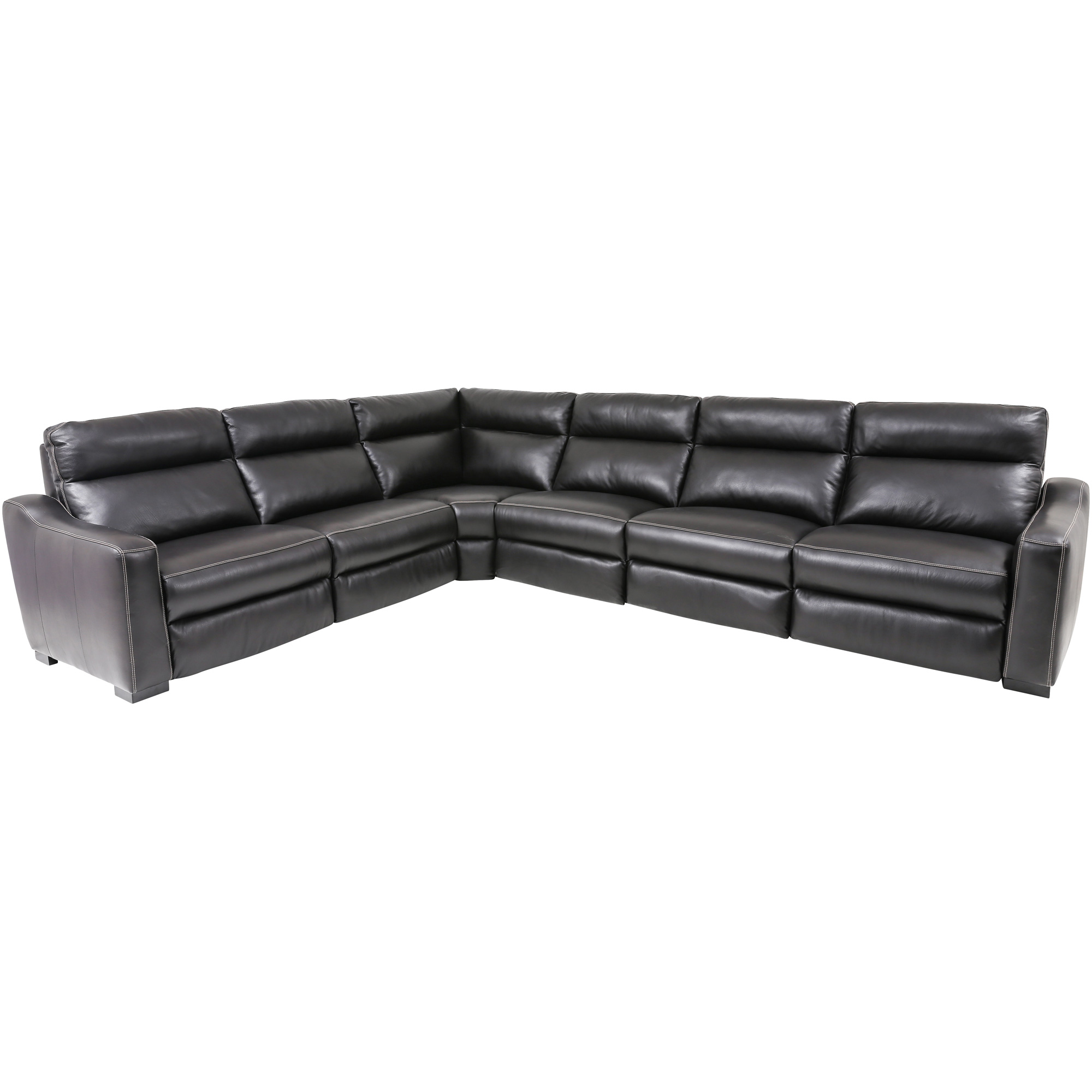 Wah Cheers | Aveo Blackberry Leather 6 Piece Power Plus Reclining Sectional Sofa