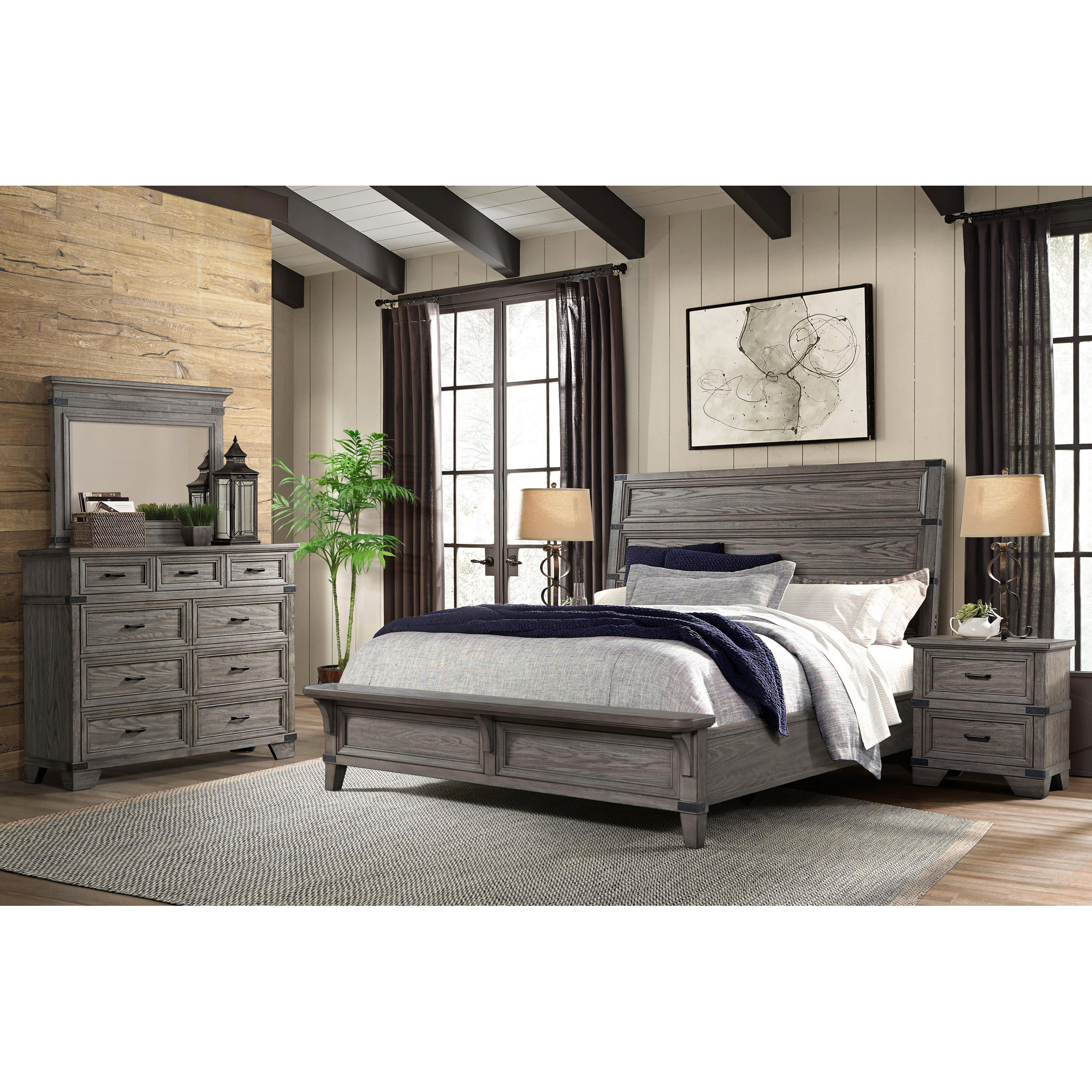 Intercon | Forge Brushed Steel Queen 4 Piece Room Group Bedroom Set