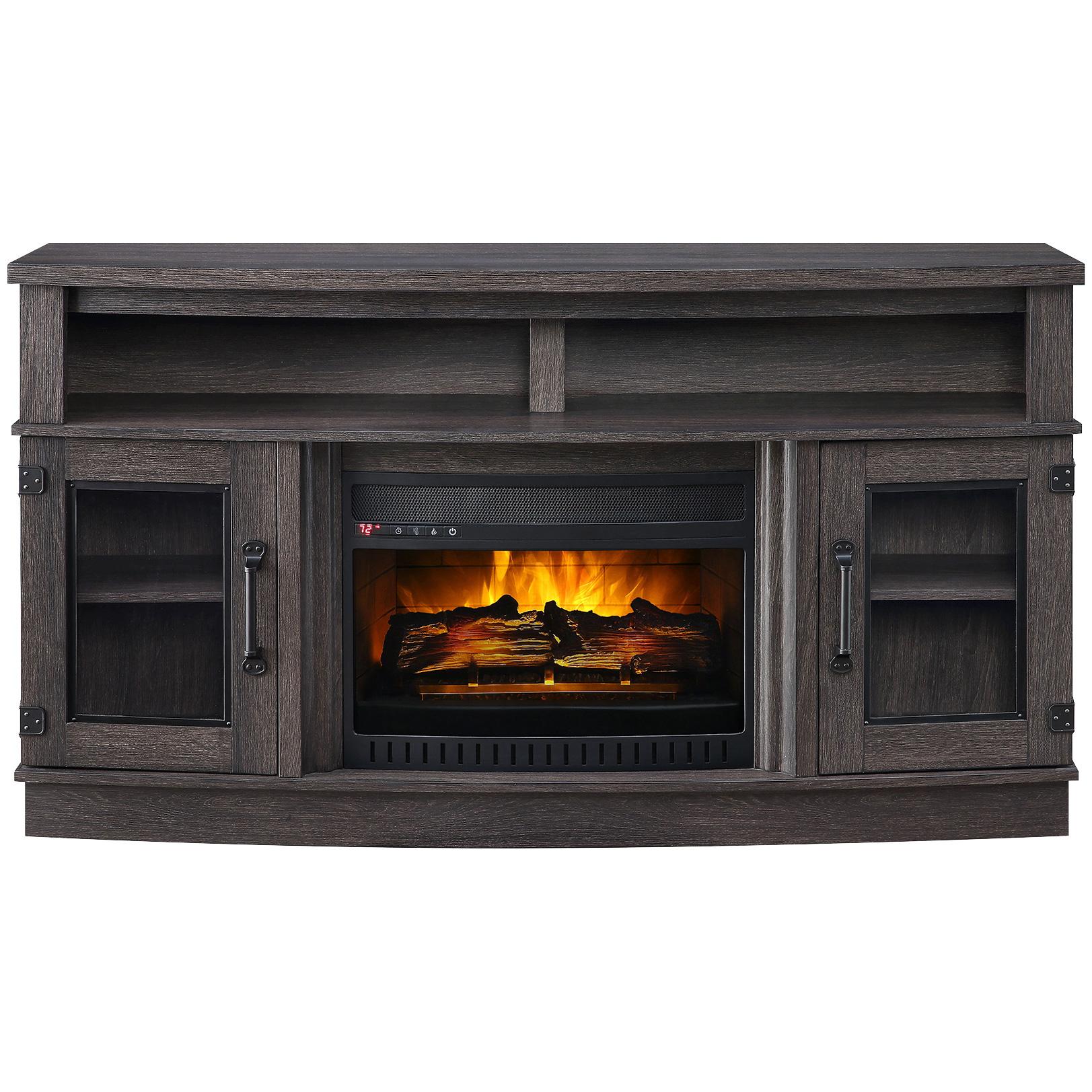 Whalen Furniture | Benington Gray Bow Front Fireplace