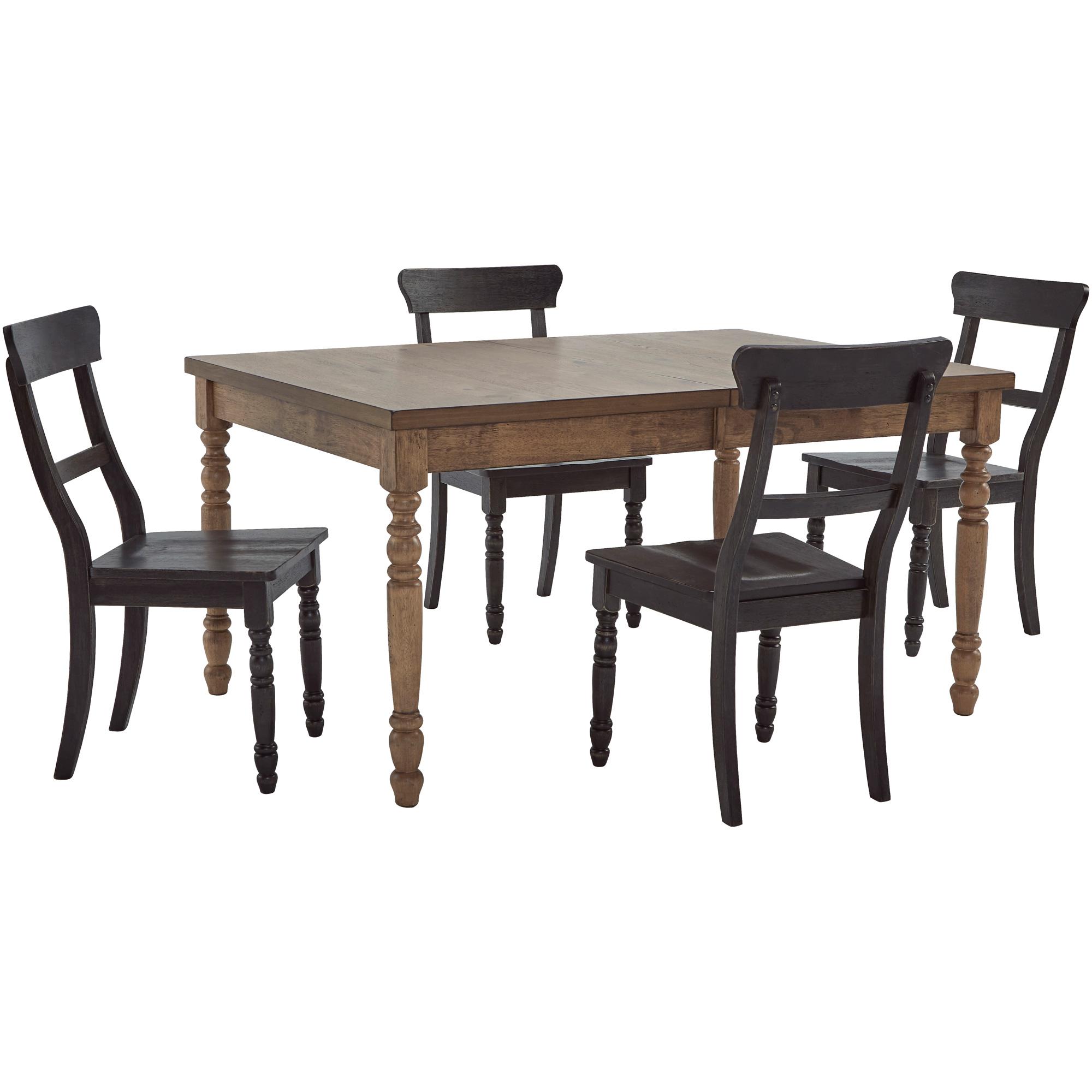 Progressive Furniture Inc. | Savannah Court Antique Oak and Black 5 Piece Dining Set