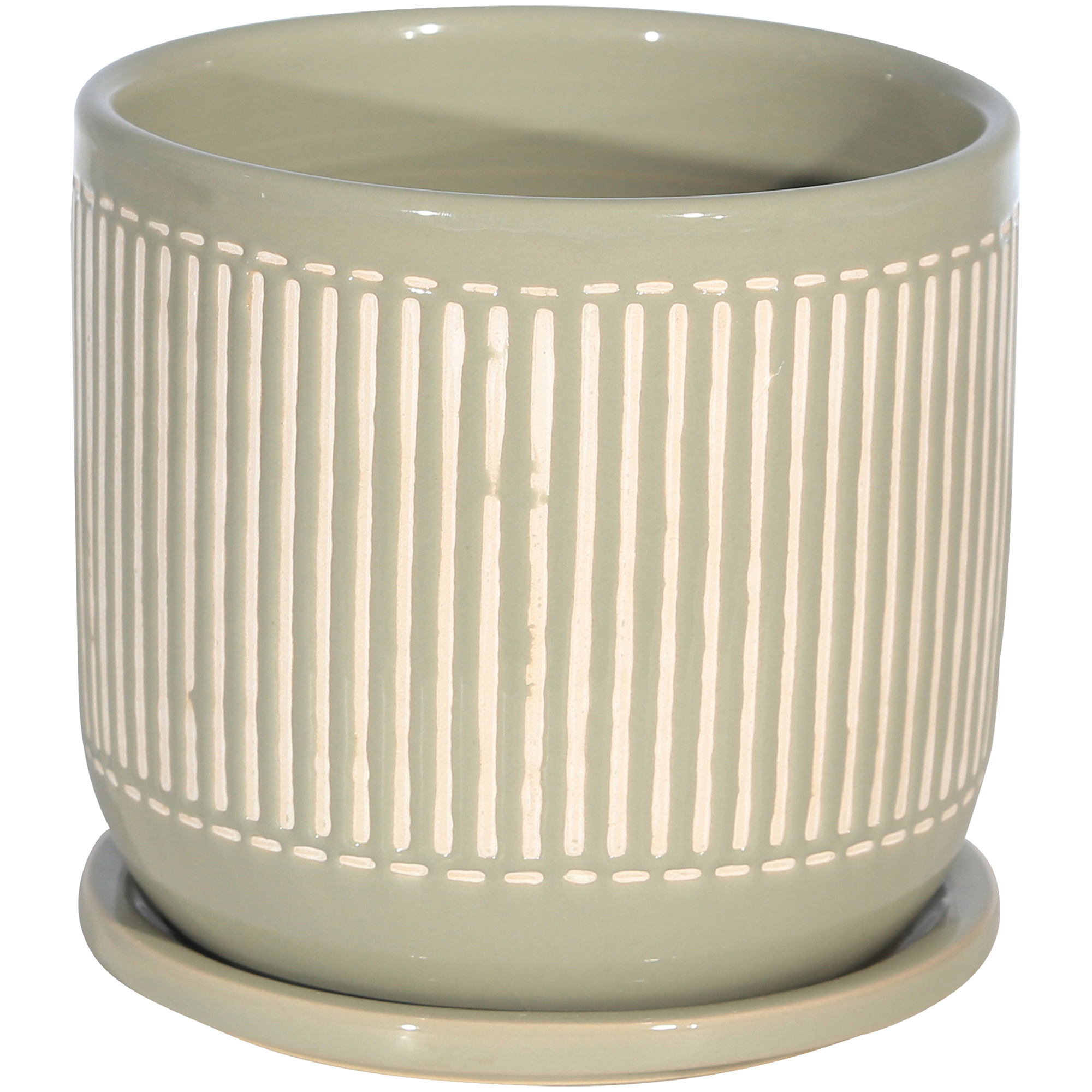 Sagebrook | Copper Ranch Gray Planter with Saucer