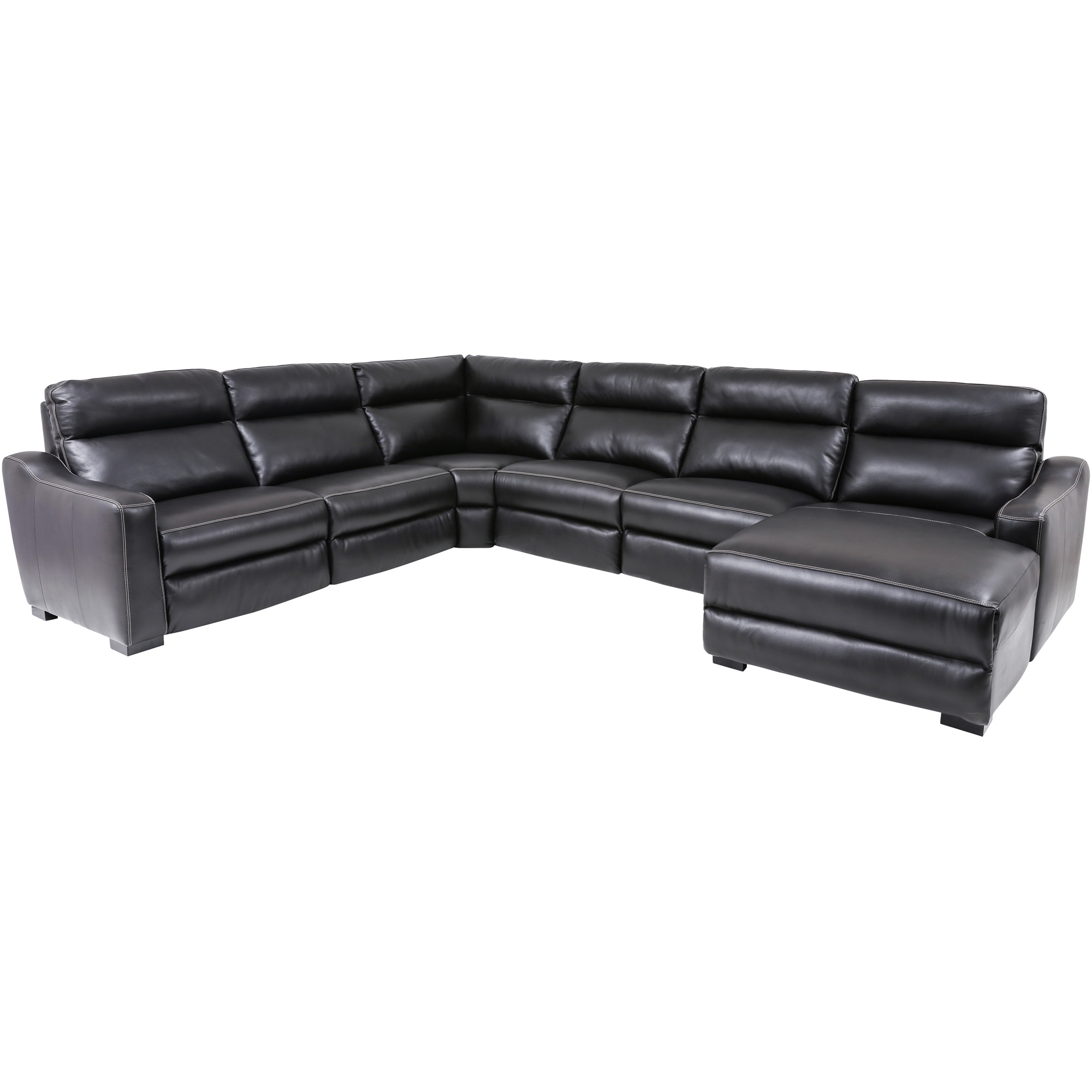 Wah Cheers | Aveo Blackberry Leather Right 6 Piece Power Plus Reclining Chaise Sectional Sofa