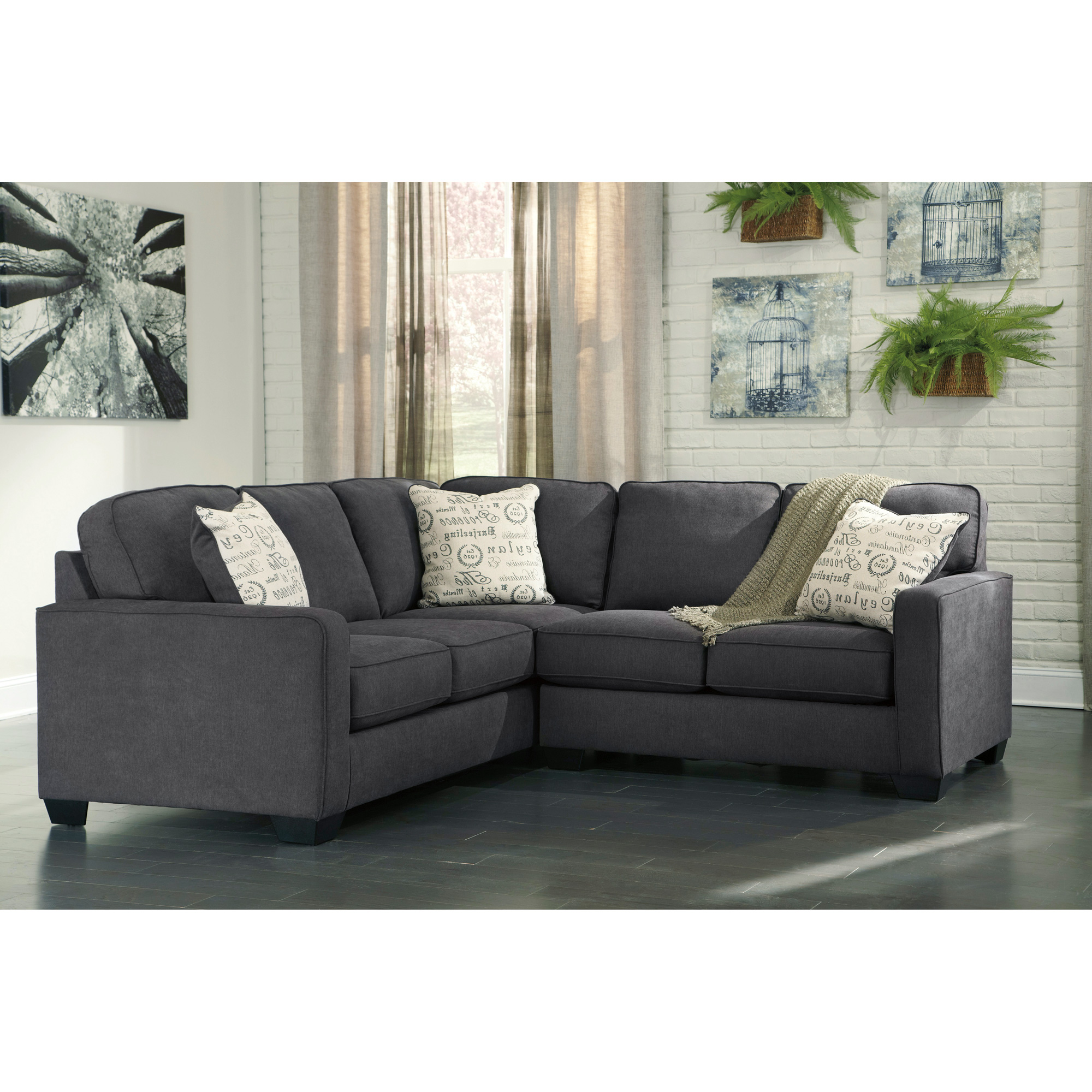 Ashley Furniture | Alenya Charcoal 2 Piece Right Sectional Sofa