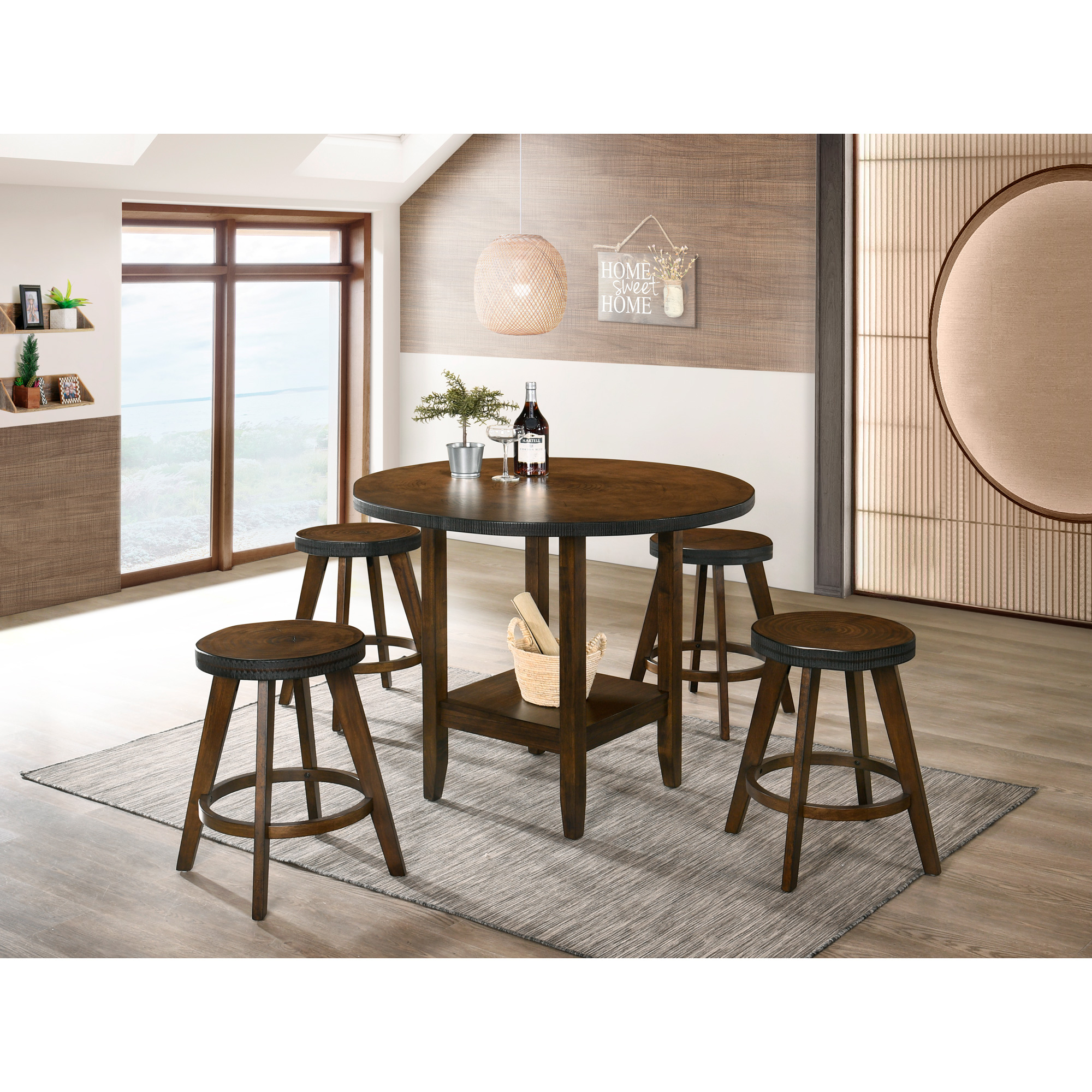 Lifestyle Enterprise | Asher Rustic Walnut 3 Piece Counter Dining Set