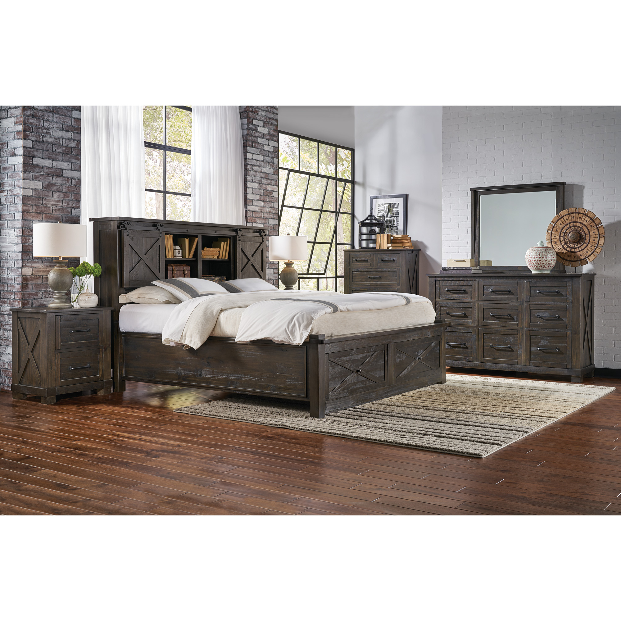 America | Sun Valley Charcoal Queen Storage 4 Piece Room Group Bedroom Set