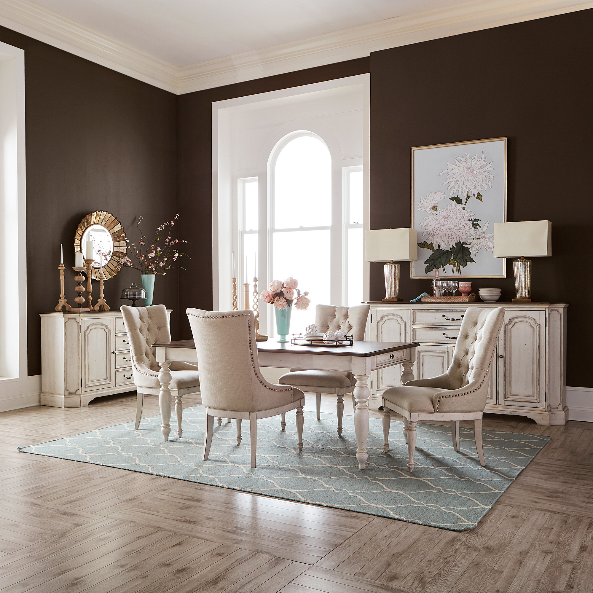Liberty Furniture | Abbey Road White 5 Piece Upholstered Dining Set