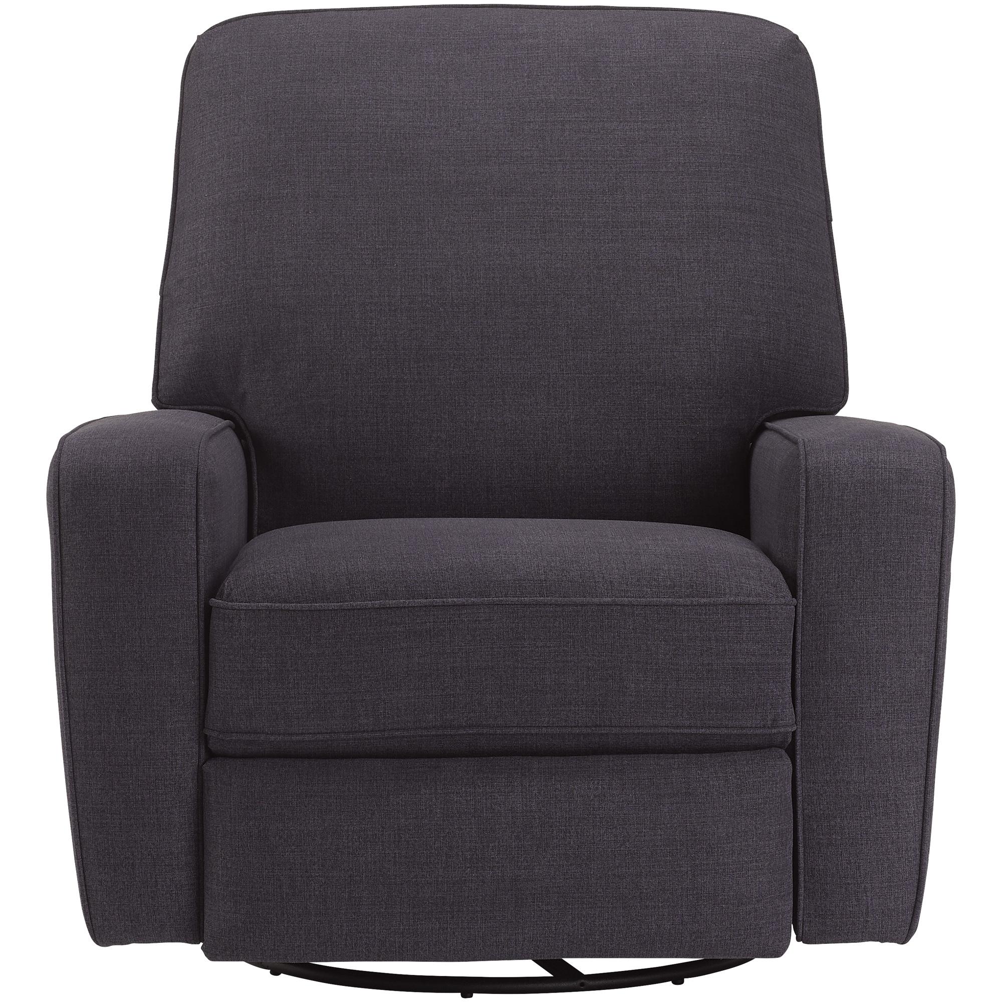 Best Home Furnishings | Bilana Navy Swivel Glide Recliner Chair