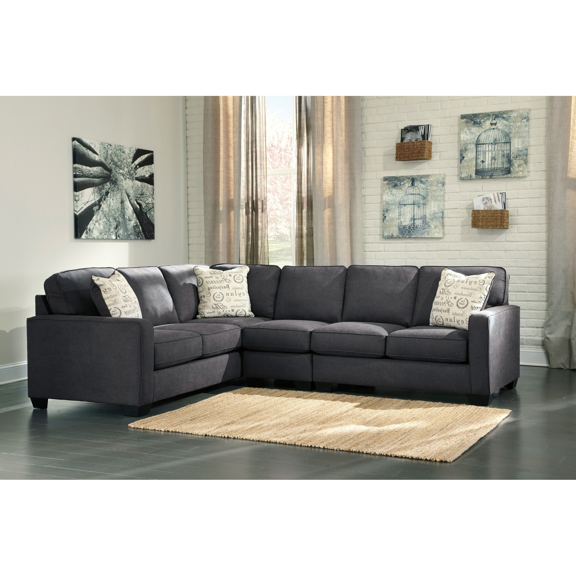 Ashley Furniture | Alenya Charcoal 3 Piece Right Sectional Sofa