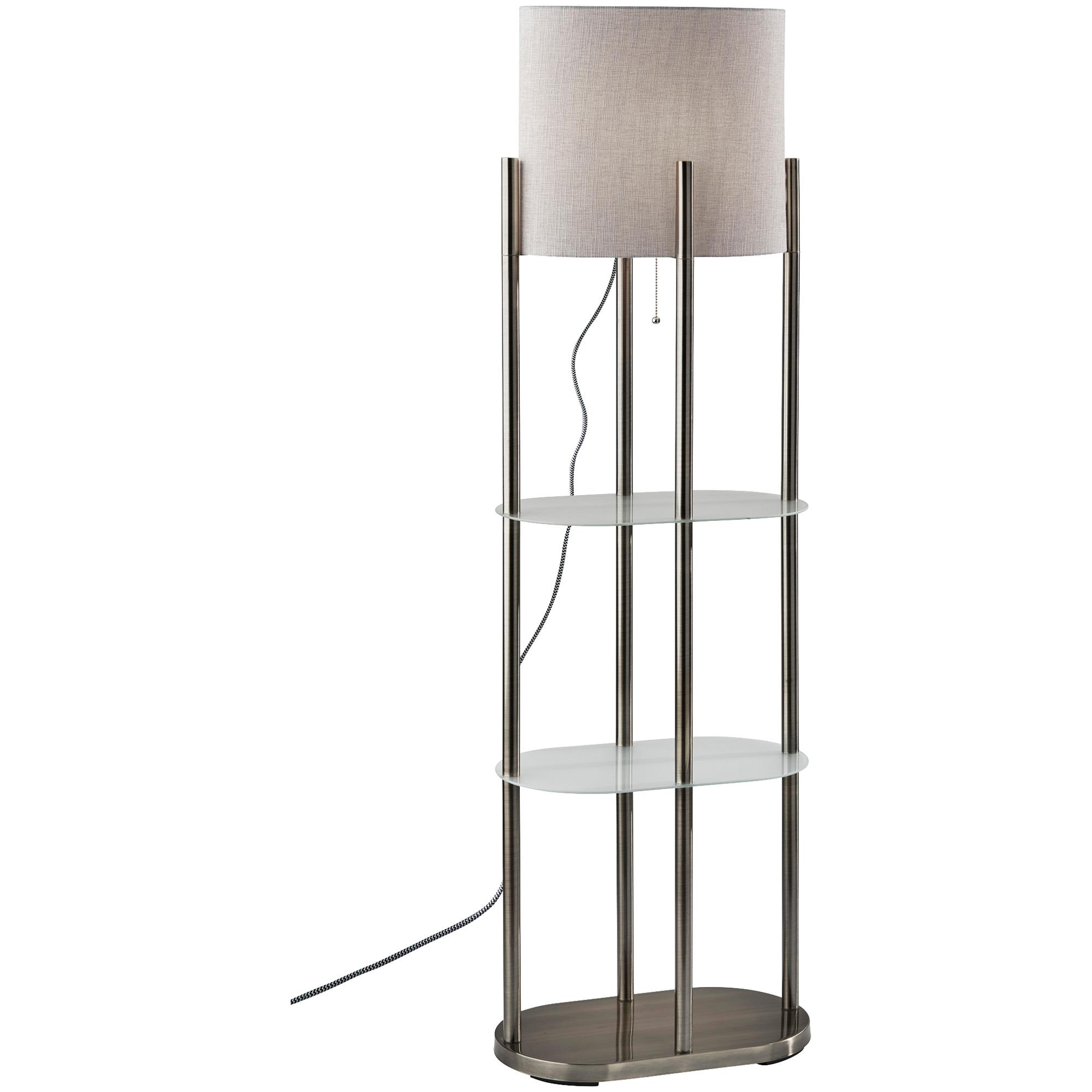 Adesso | Norman Brushed Steel Shelf Floor Lamp | White