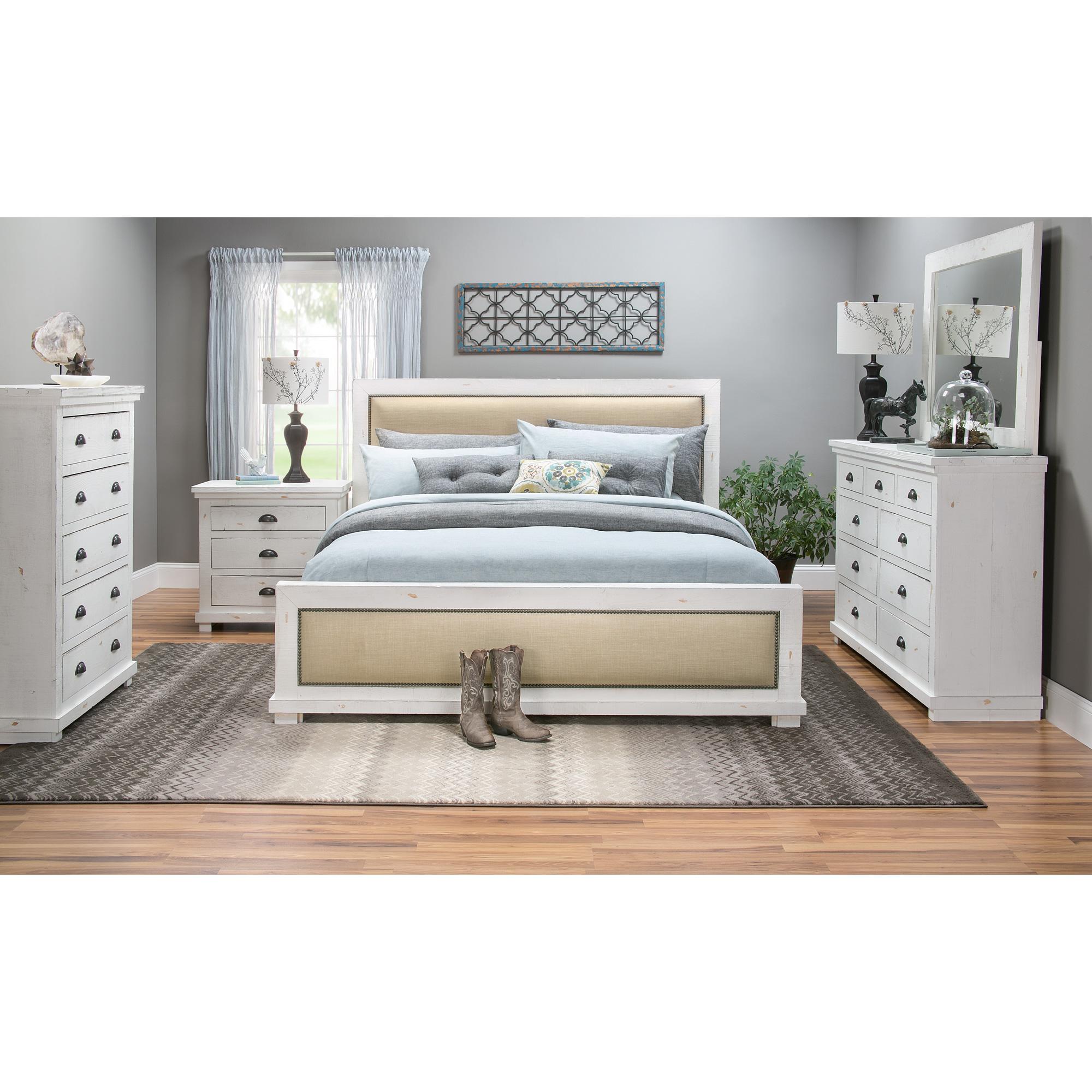 Progressive Furniture Willow Distressed White King Upholstered 4 Piece Room Group Bedroom Set From Slumberland Furniture Ibt Shop