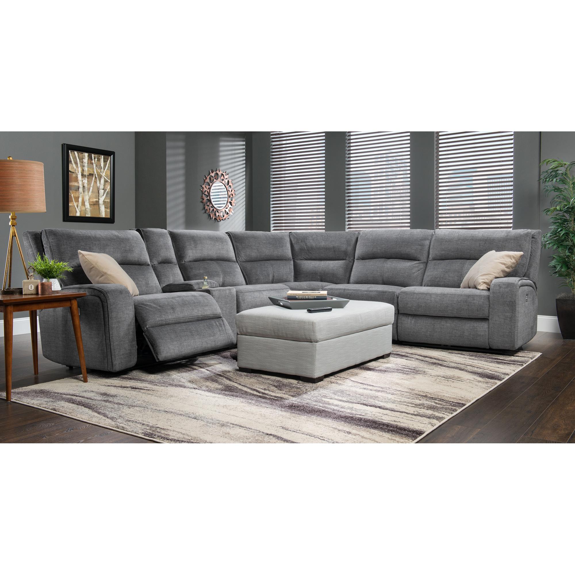 Wah Cheers | Cordova Charcoal Power+ 6 Piece Sectional Sofa