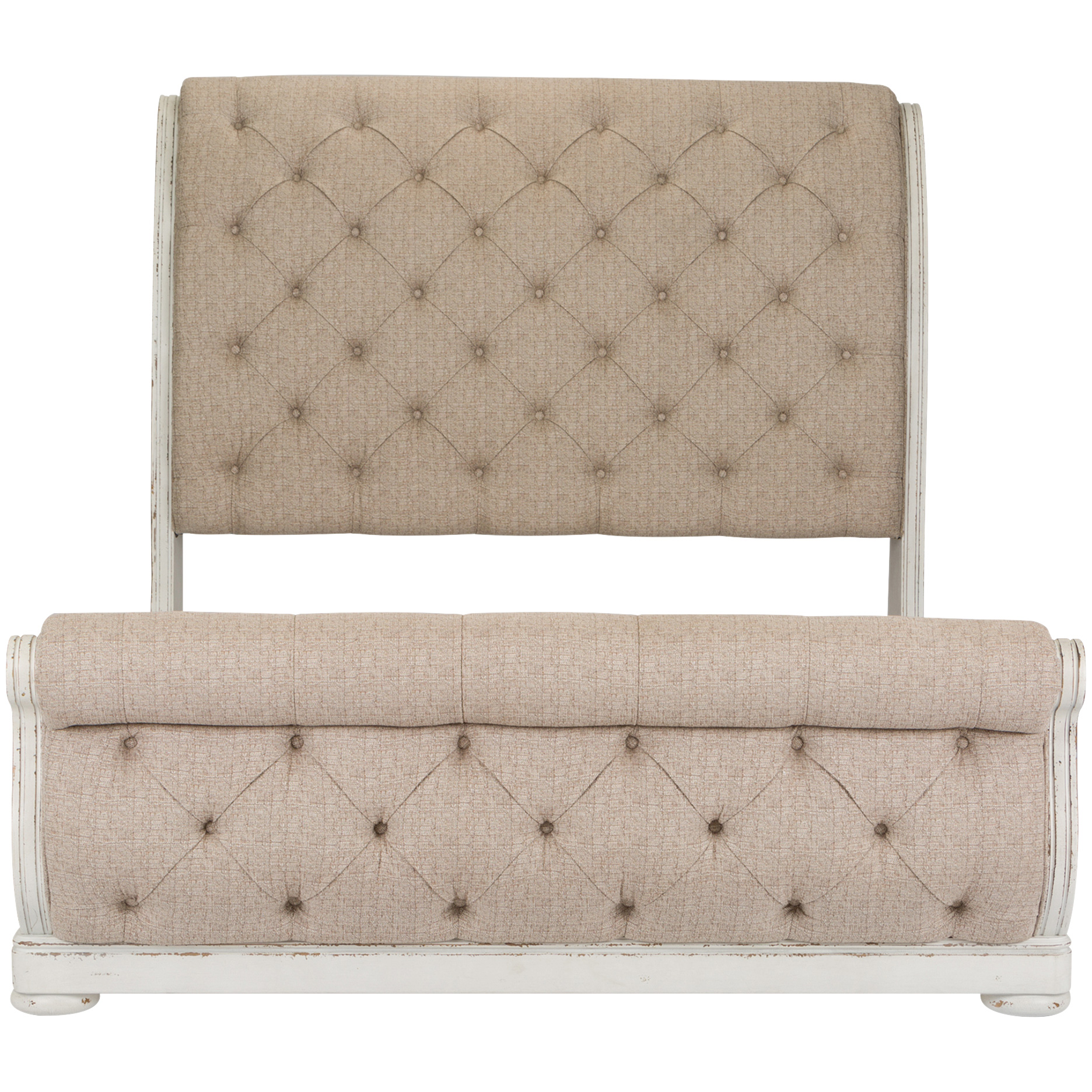 Liberty Furniture | Abbey Park White Queen Upholstered Sleigh Bed