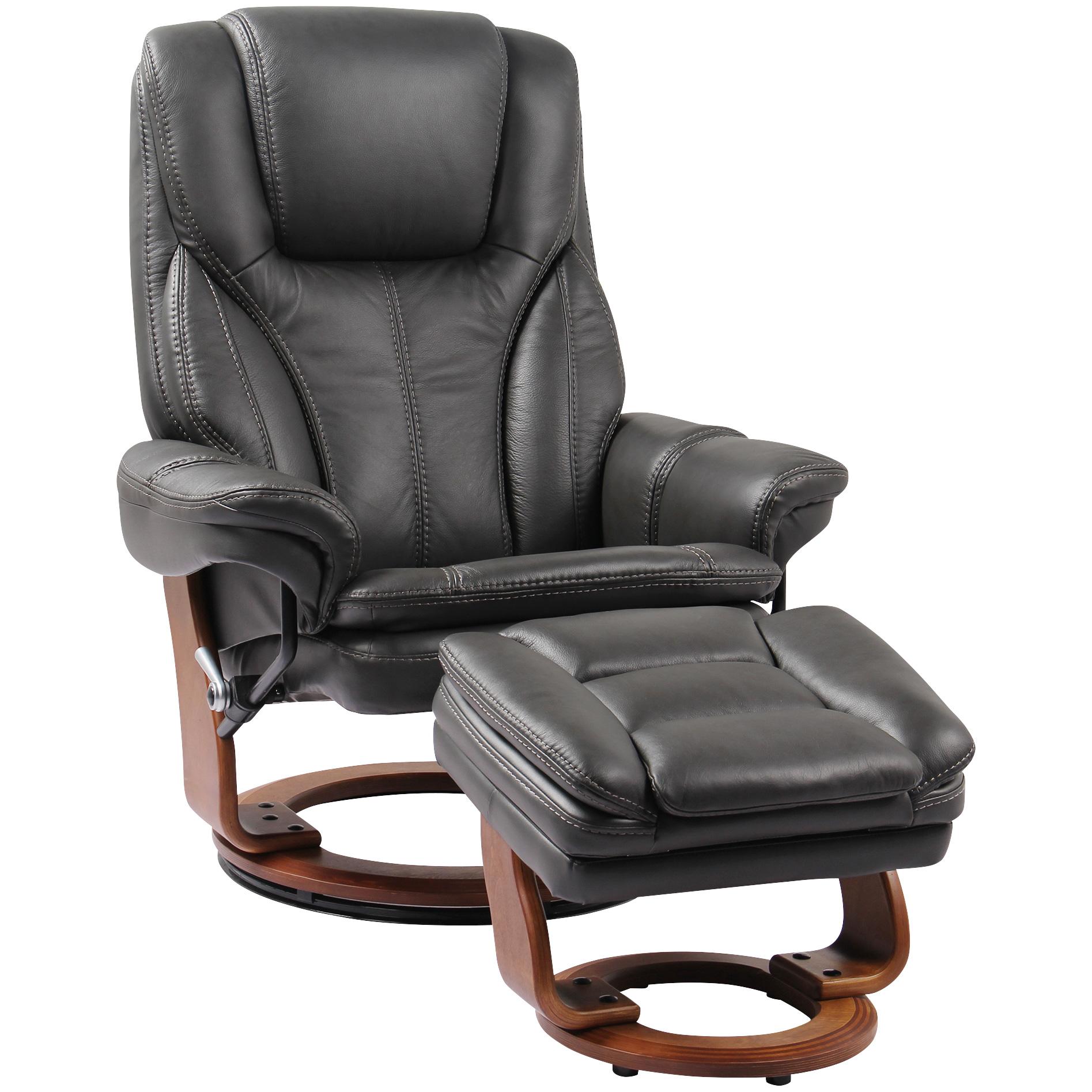 Benchmaster | Hana Gray Recliner Chair with Ottoman