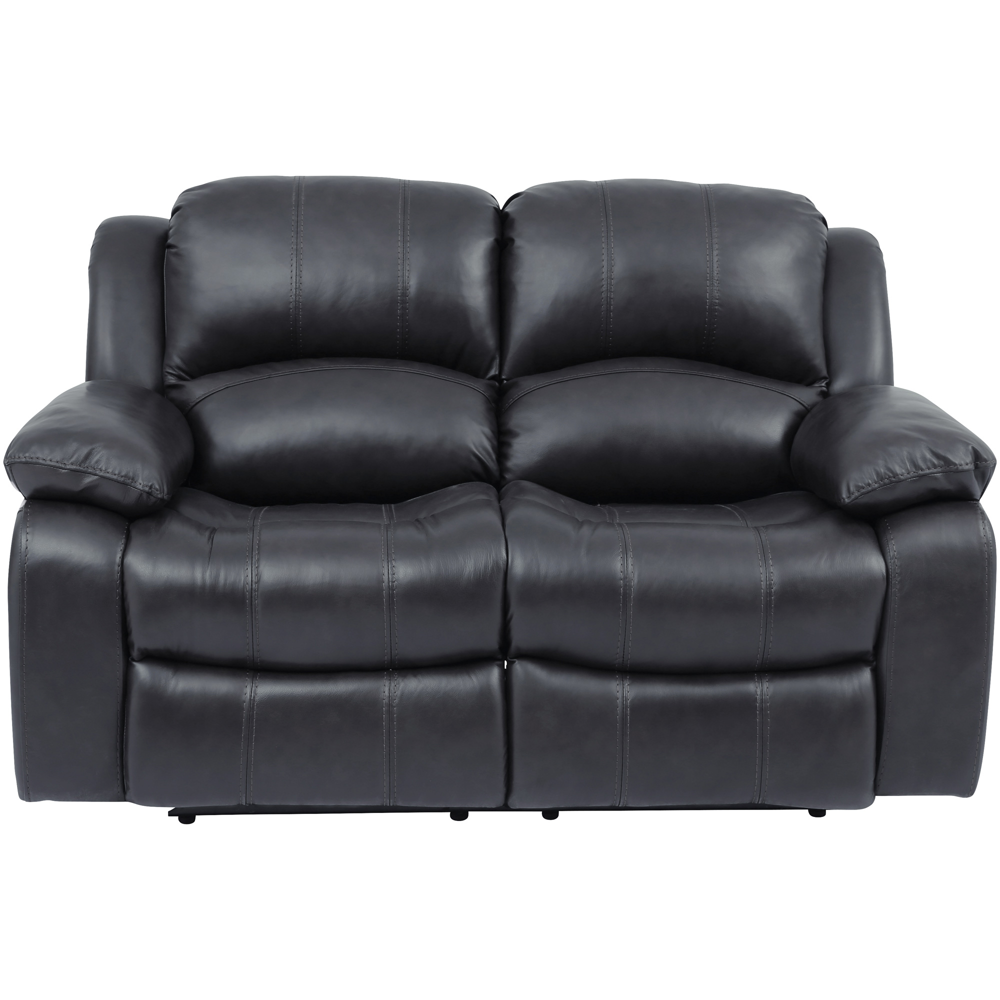 Wah Cheers | Ender Gray Leather Reclining Loveseat Sofa