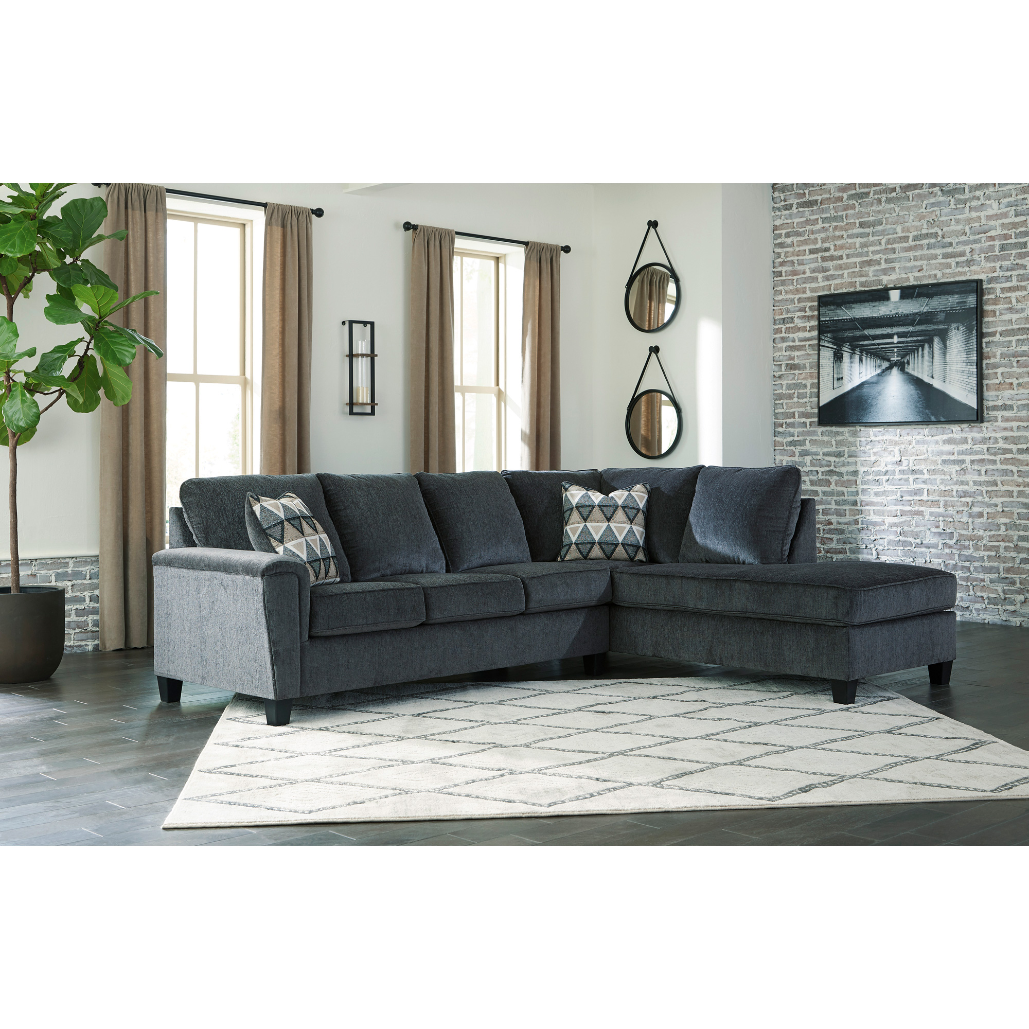 Ashley Furniture | Abinger Smoke Right Chaise Sectional Sofa