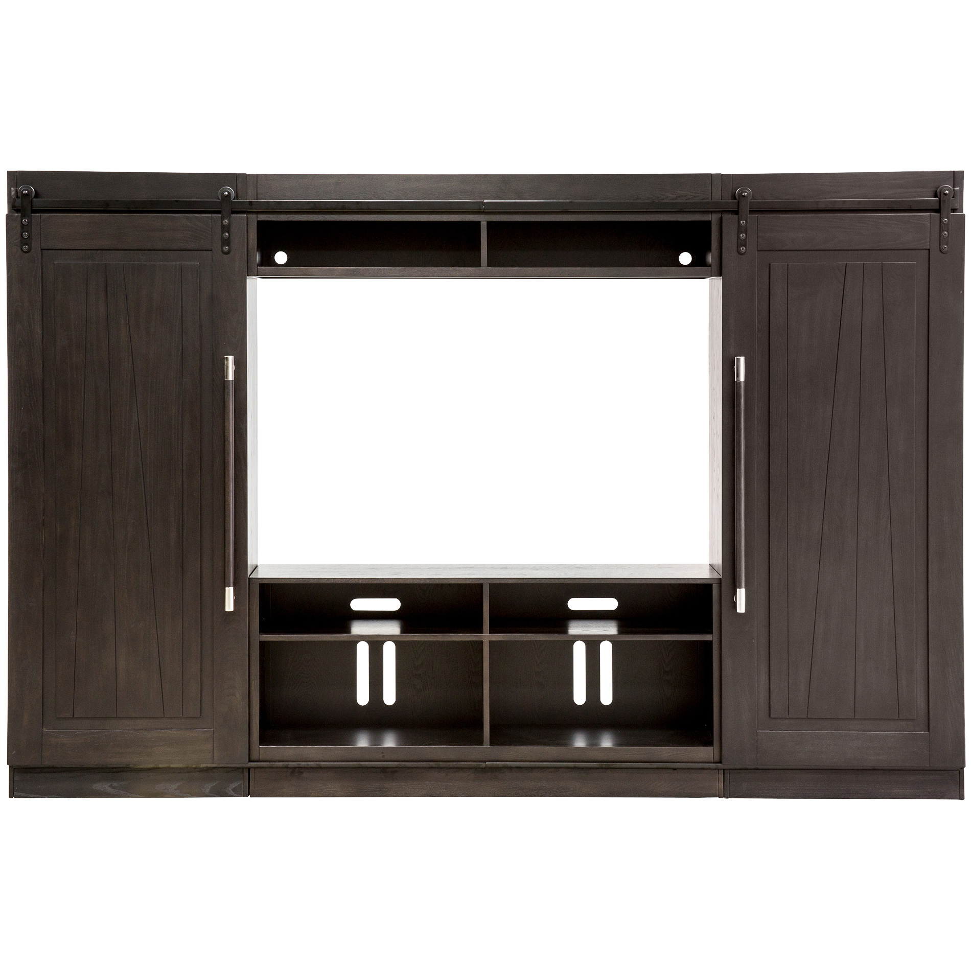 Liberty Furniture | Abbey Black Entertainment Center with Piers