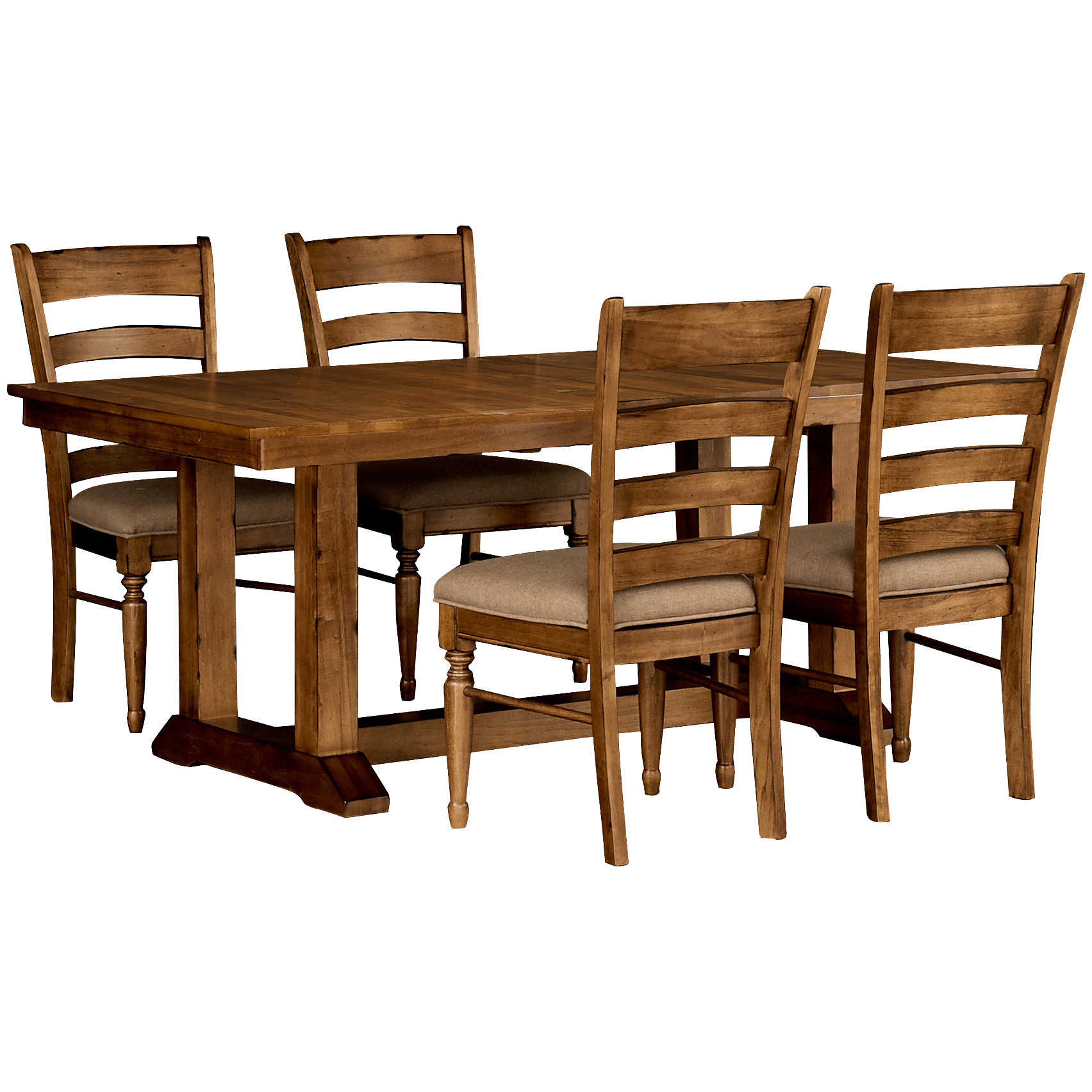 America | Bennett Smokey Quartz 5 Piece Upholstered Trestle Dining Set