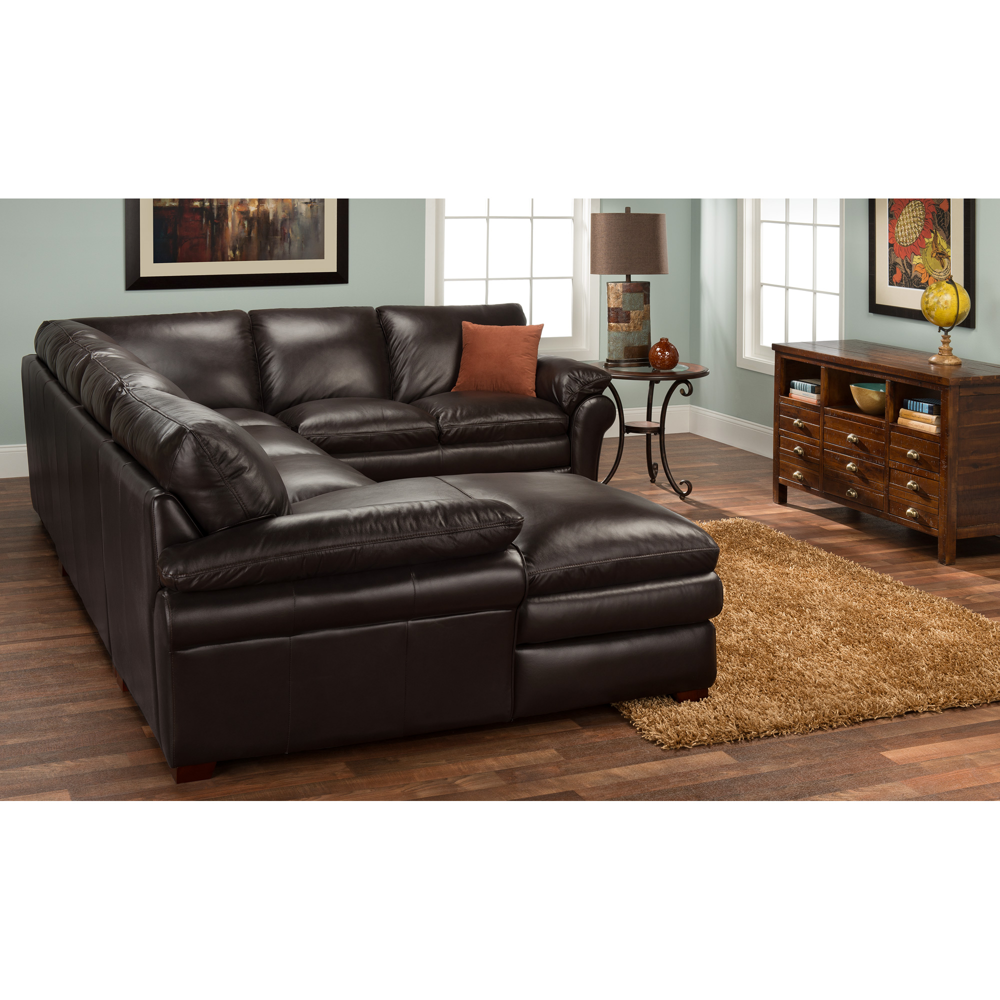 Futura Leather | Moldova Brown Left Arm Chaise Sectional Sofa