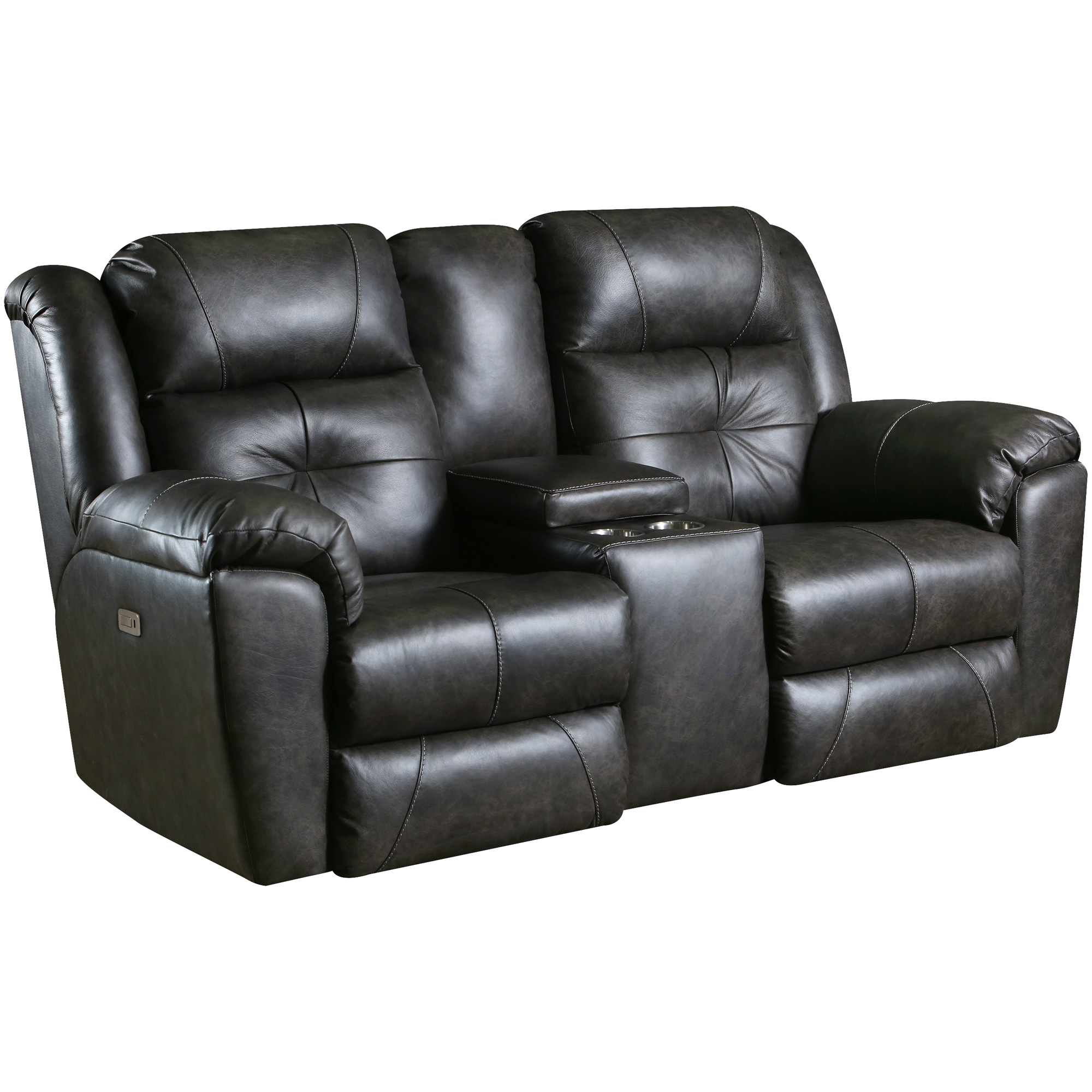 Southern Motion | Vista Slate Leather Power Reclining Console Loveseat Sofa